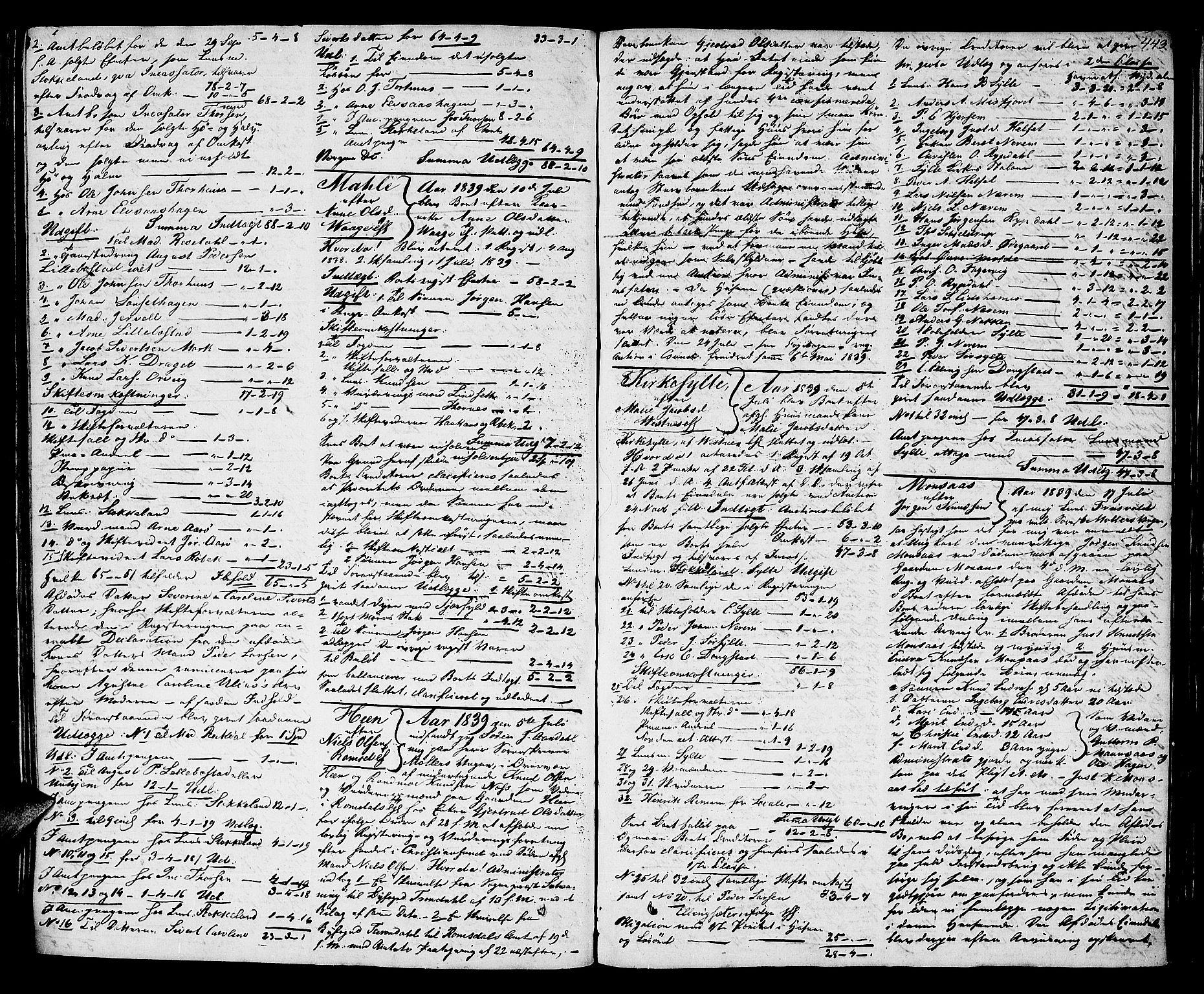 SAT, Romsdal sorenskriveri, 3/3A/L0017: Skifteutlodnings Protokoll 3, 1832-1840, s. 443