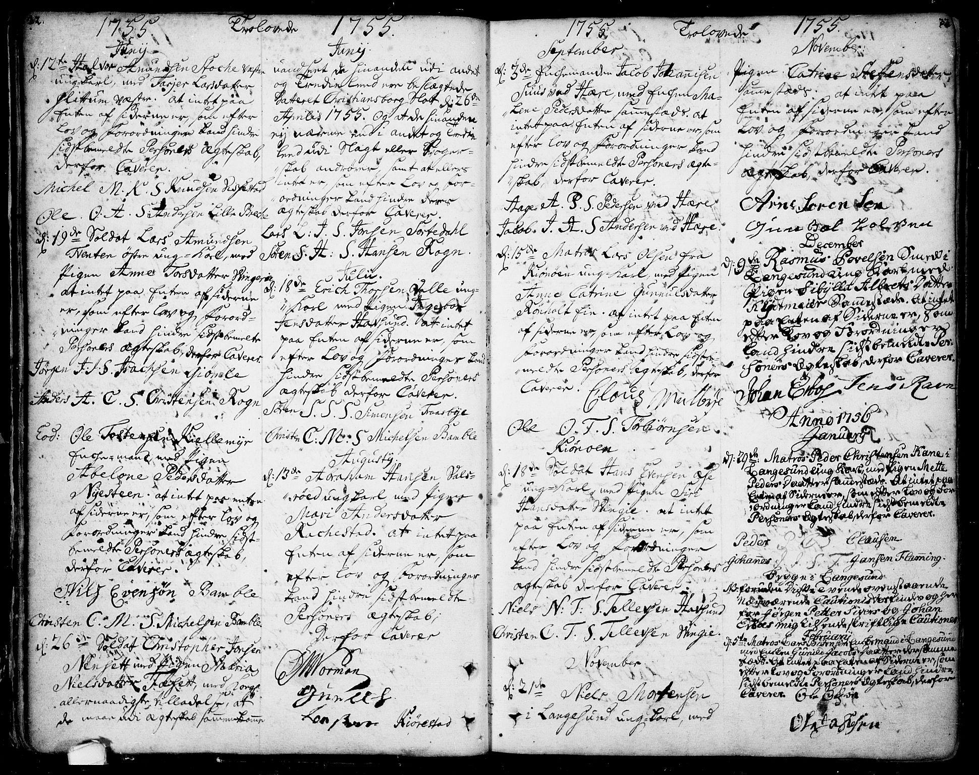 SAKO, Bamble kirkebøker, F/Fa/L0001: Ministerialbok nr. I 1, 1702-1774, s. 32-33