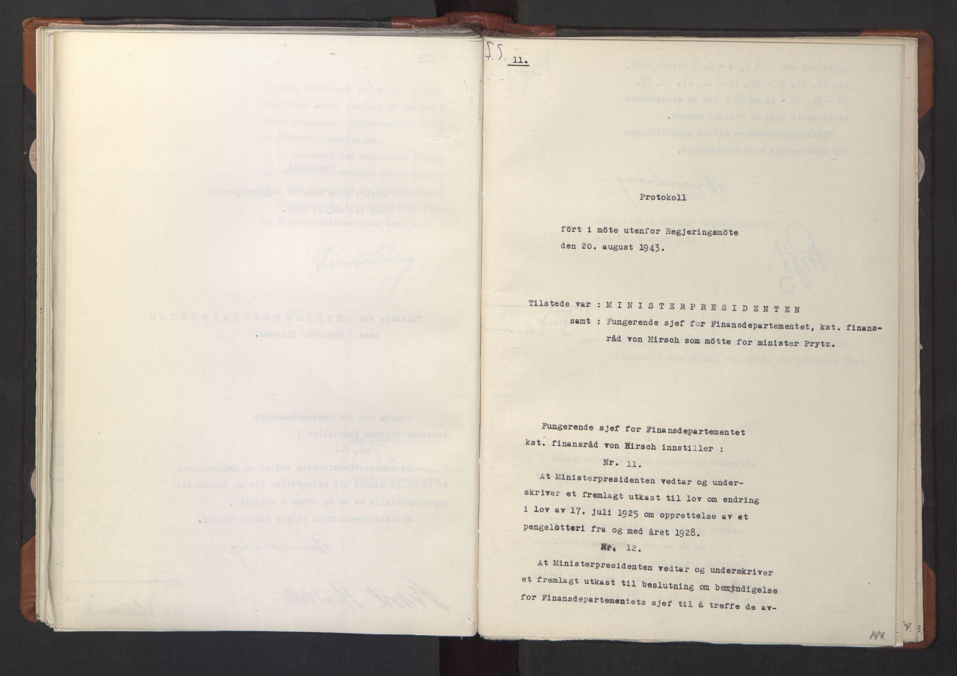 RA, NS-administrasjonen 1940-1945 (Statsrådsekretariatet, de kommisariske statsråder mm), D/Da/L0003: Vedtak (Beslutninger) nr. 1-746 og tillegg nr. 1-47 (RA. j.nr. 1394/1944, tilgangsnr. 8/1944, 1943, s. 146b-147a