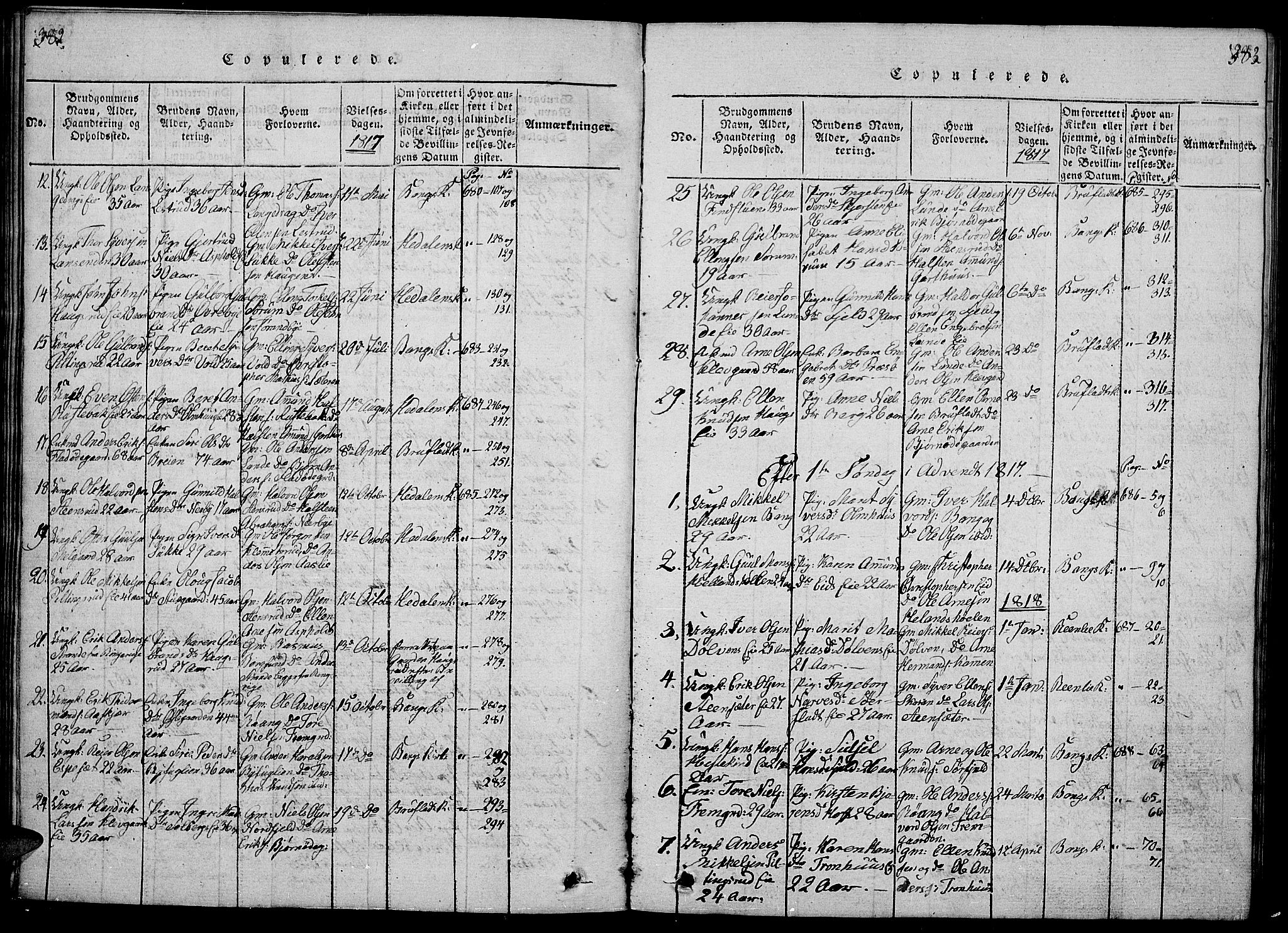 SAH, Sør-Aurdal prestekontor, Klokkerbok nr. 1, 1815-1826, s. 382-383