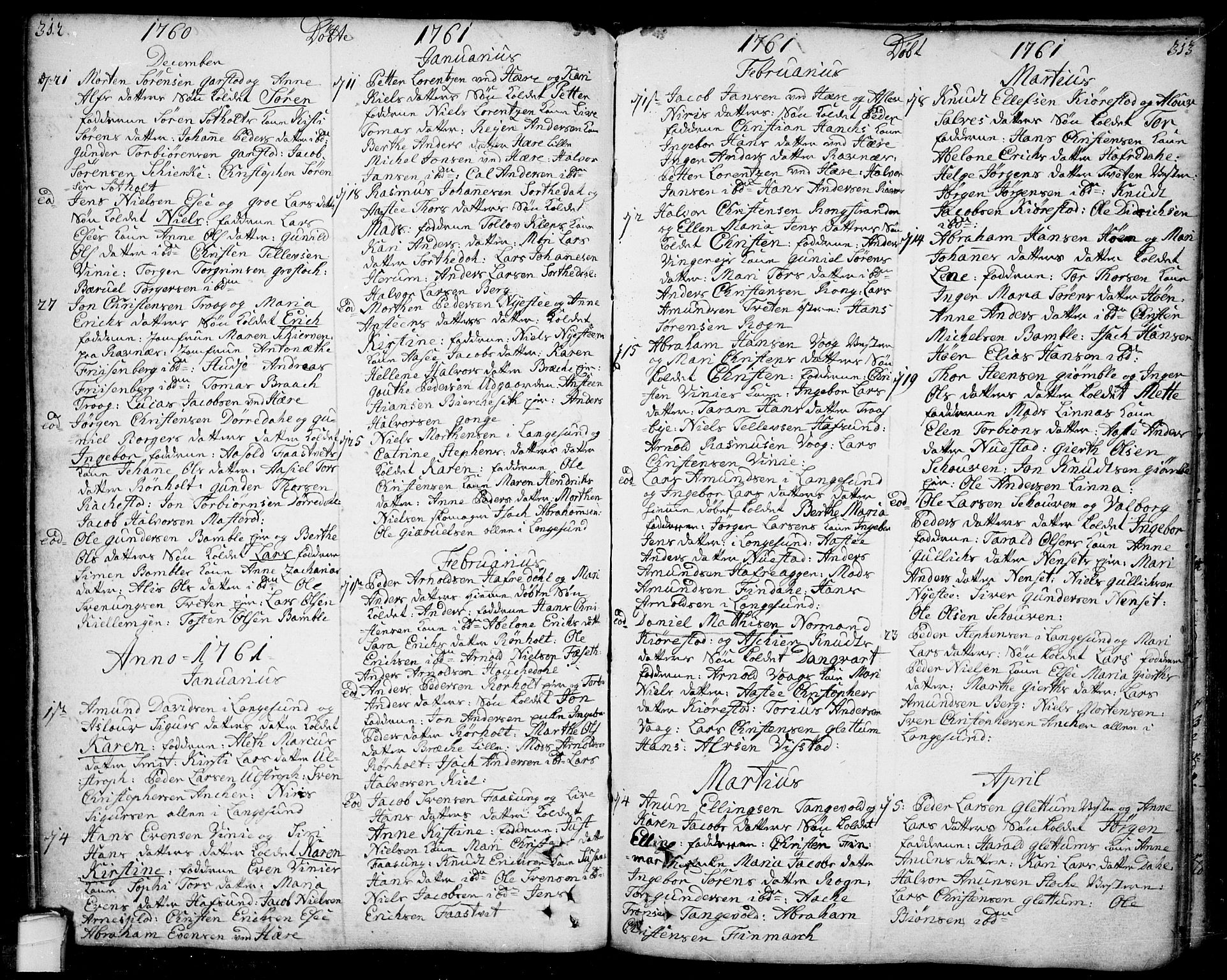 SAKO, Bamble kirkebøker, F/Fa/L0001: Ministerialbok nr. I 1, 1702-1774, s. 312-313