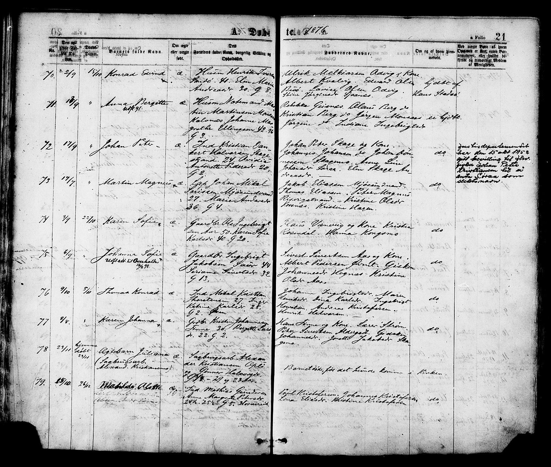 SAT, Ministerialprotokoller, klokkerbøker og fødselsregistre - Nord-Trøndelag, 780/L0642: Ministerialbok nr. 780A07 /1, 1874-1885, s. 21