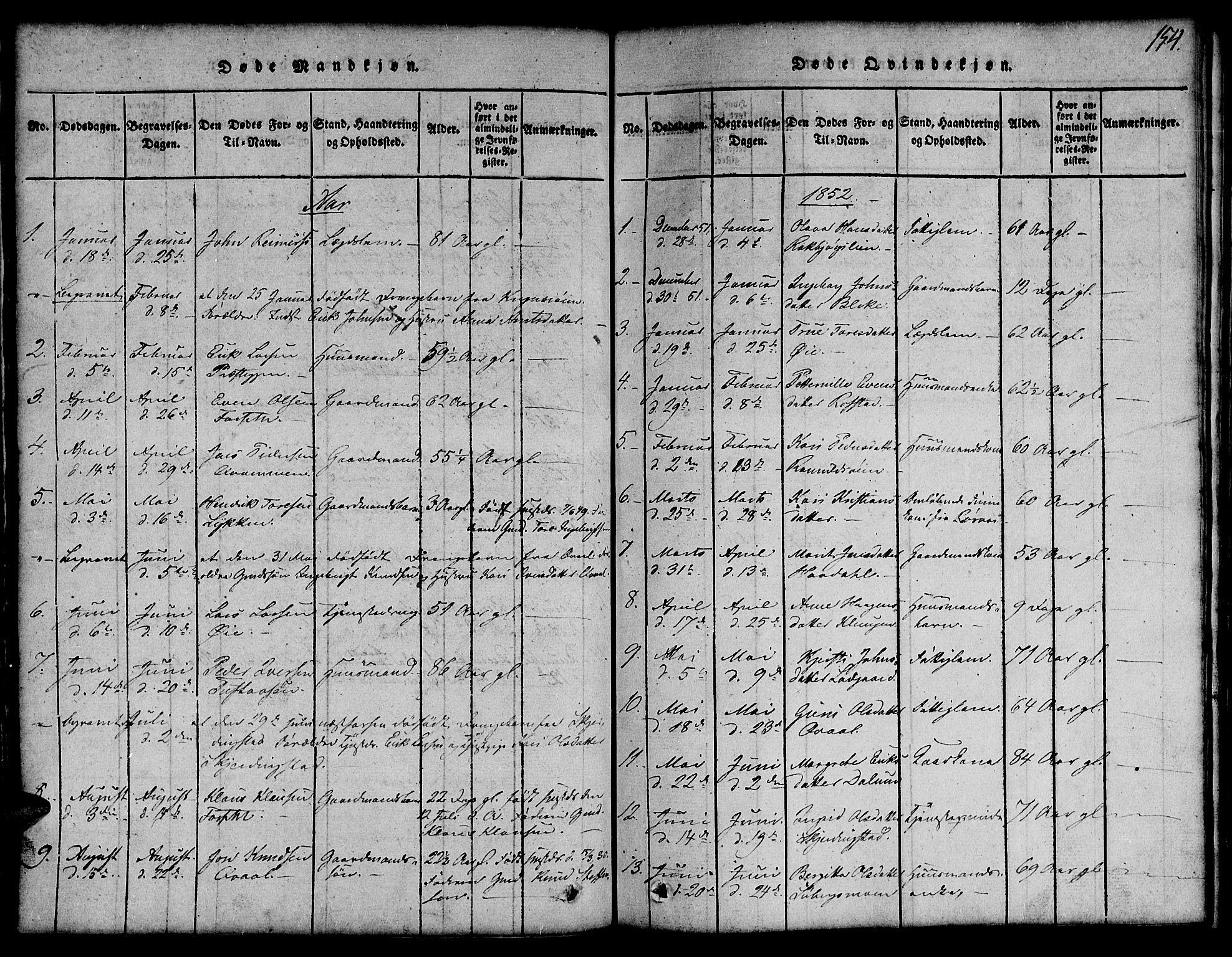 SAT, Ministerialprotokoller, klokkerbøker og fødselsregistre - Sør-Trøndelag, 691/L1092: Klokkerbok nr. 691C03, 1816-1852, s. 154