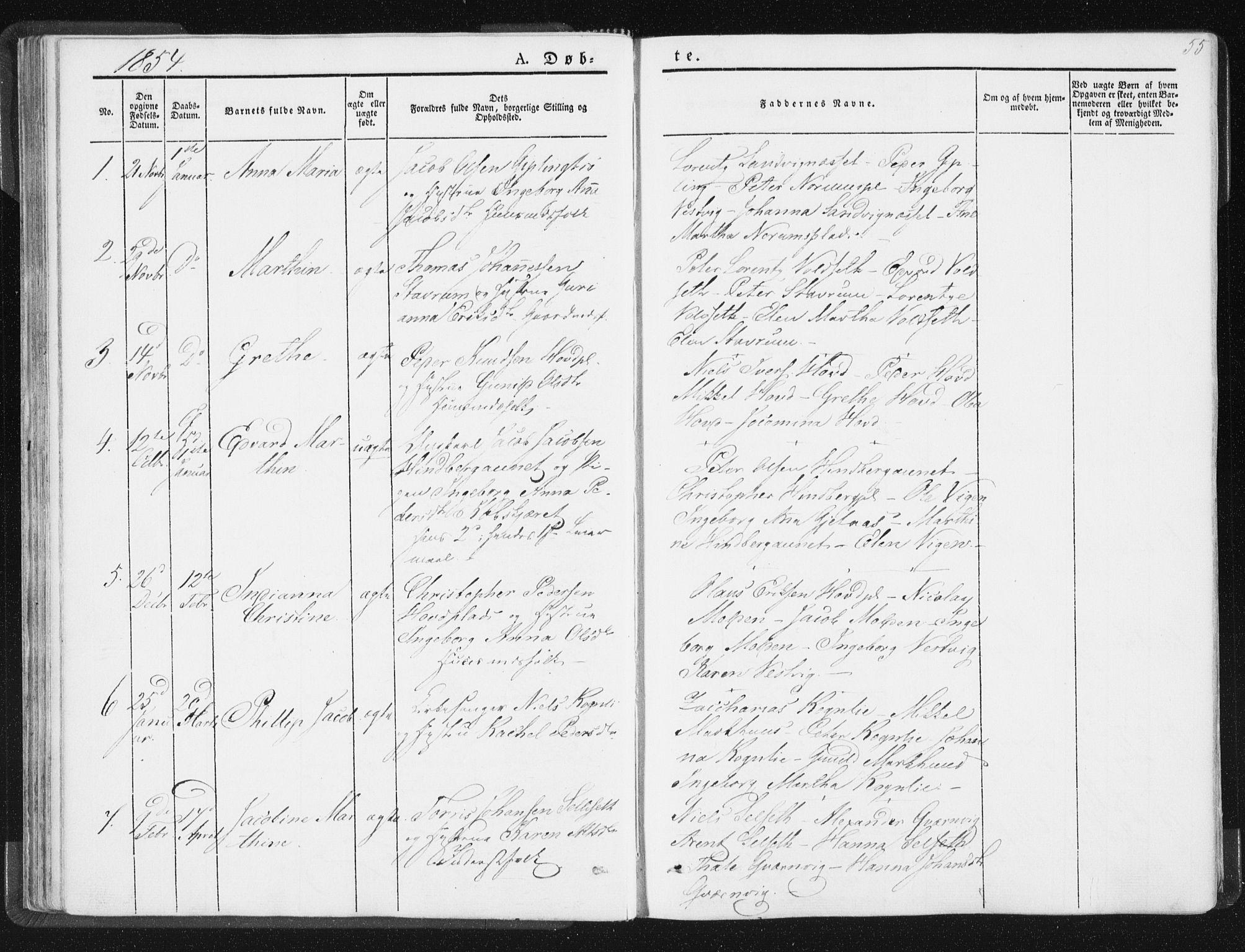SAT, Ministerialprotokoller, klokkerbøker og fødselsregistre - Nord-Trøndelag, 744/L0418: Ministerialbok nr. 744A02, 1843-1866, s. 55