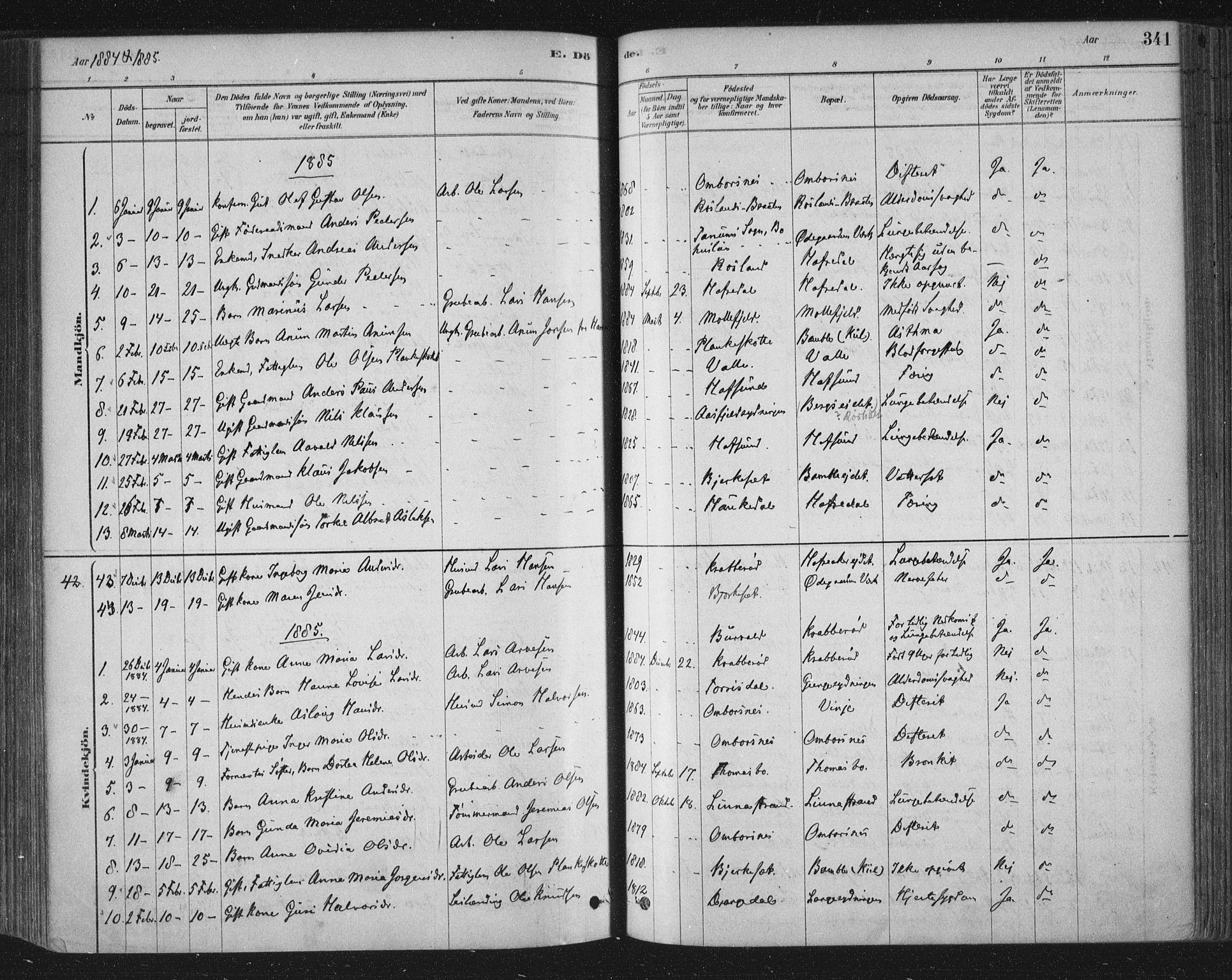 SAKO, Bamble kirkebøker, F/Fa/L0007: Ministerialbok nr. I 7, 1878-1888, s. 341