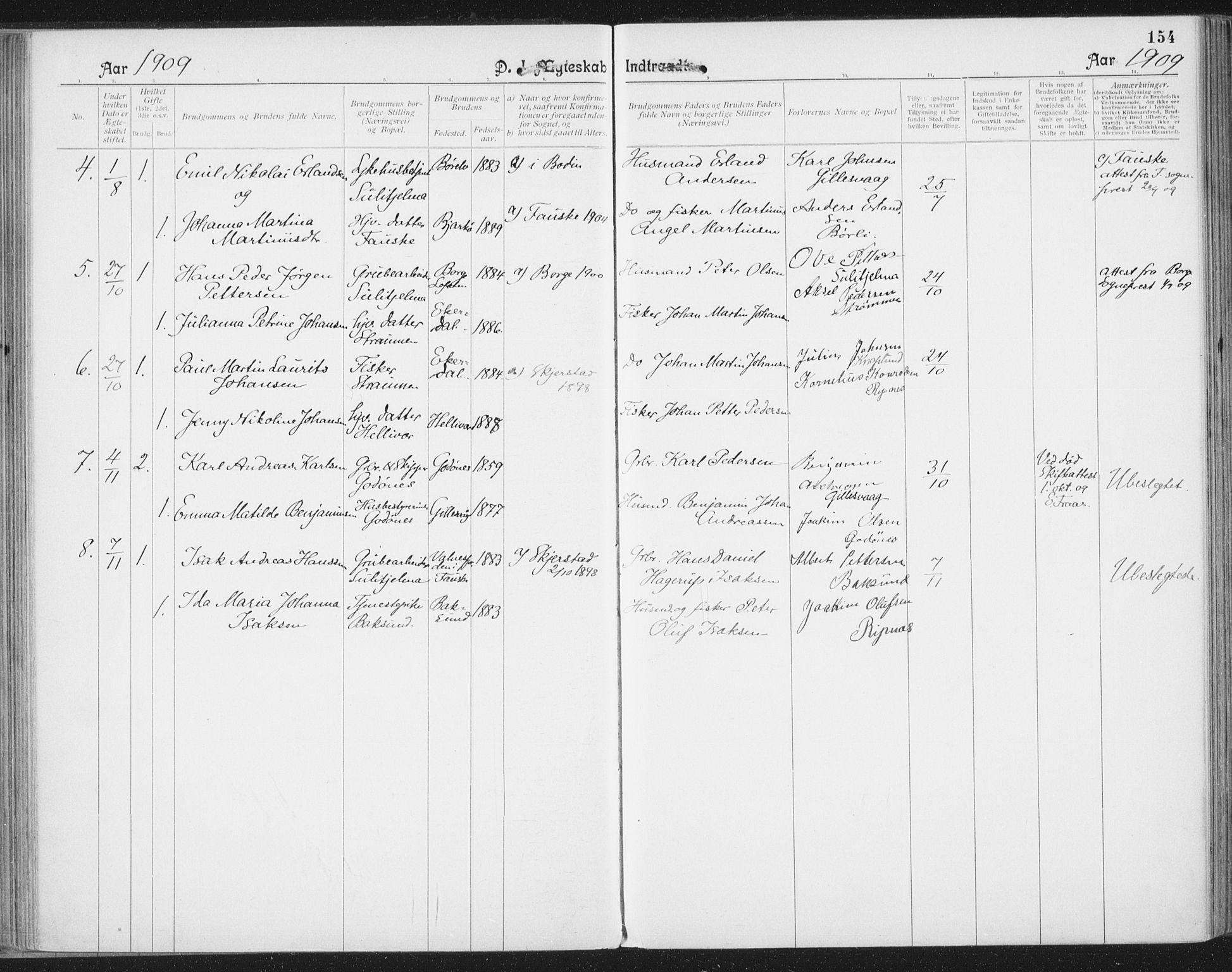 SAT, Ministerialprotokoller, klokkerbøker og fødselsregistre - Nordland, 804/L0081: Ministerialbok nr. 804A02, 1901-1915, s. 154