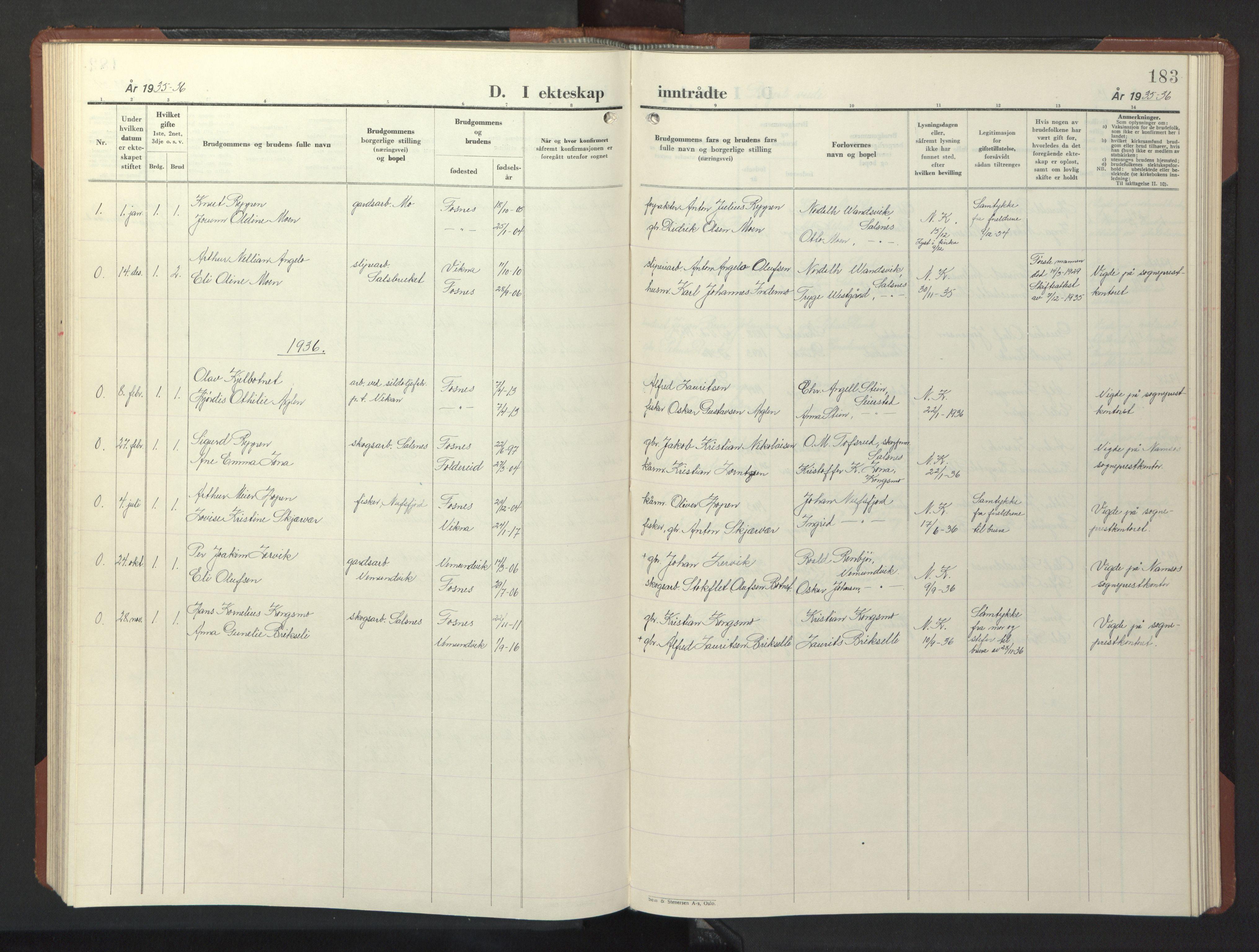 SAT, Ministerialprotokoller, klokkerbøker og fødselsregistre - Nord-Trøndelag, 773/L0625: Klokkerbok nr. 773C01, 1910-1952, s. 183