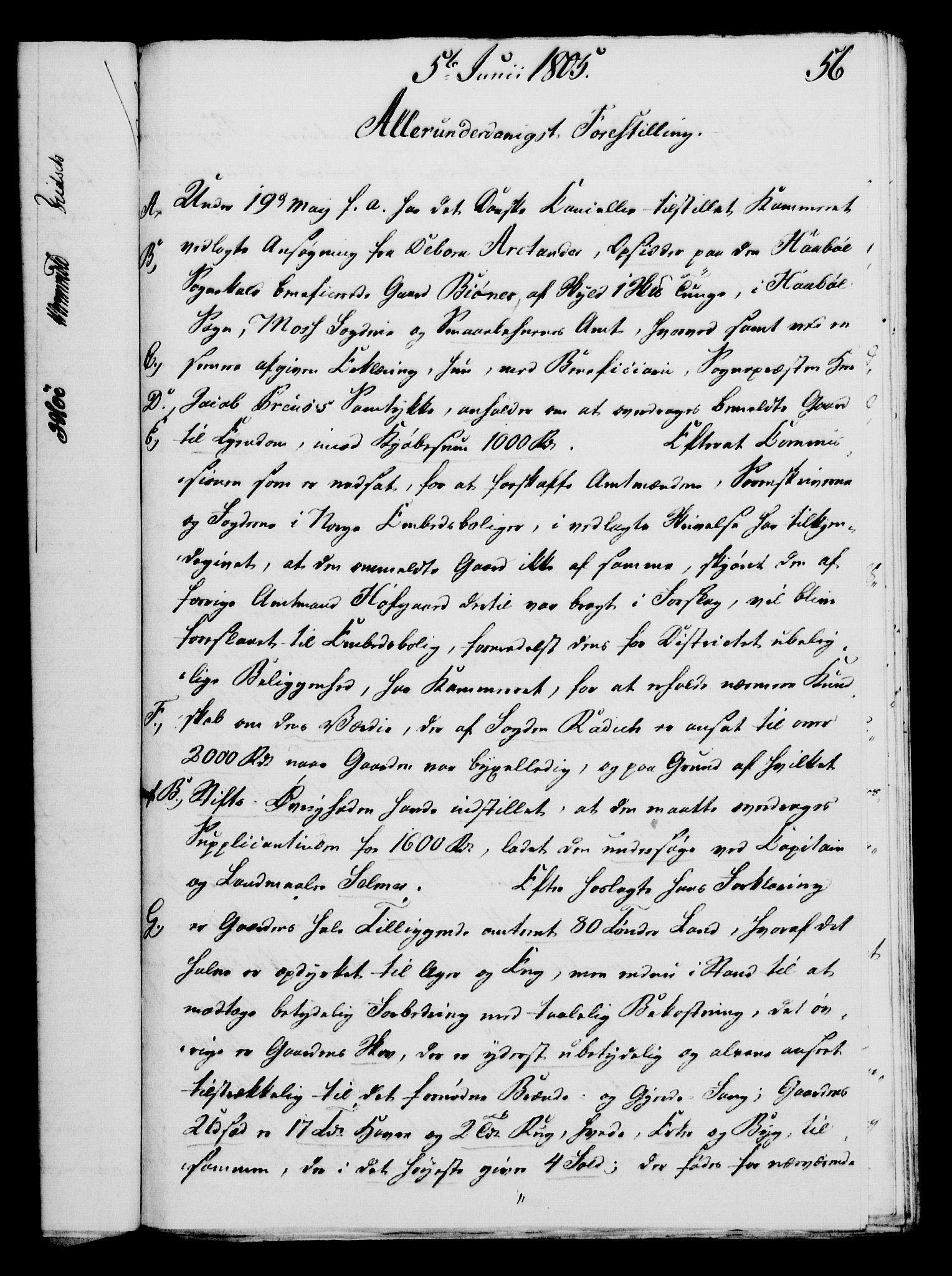 RA, Rentekammeret, Kammerkanselliet, G/Gf/Gfa/L0087: Norsk relasjons- og resolusjonsprotokoll (merket RK 52.87), 1805, s. 330