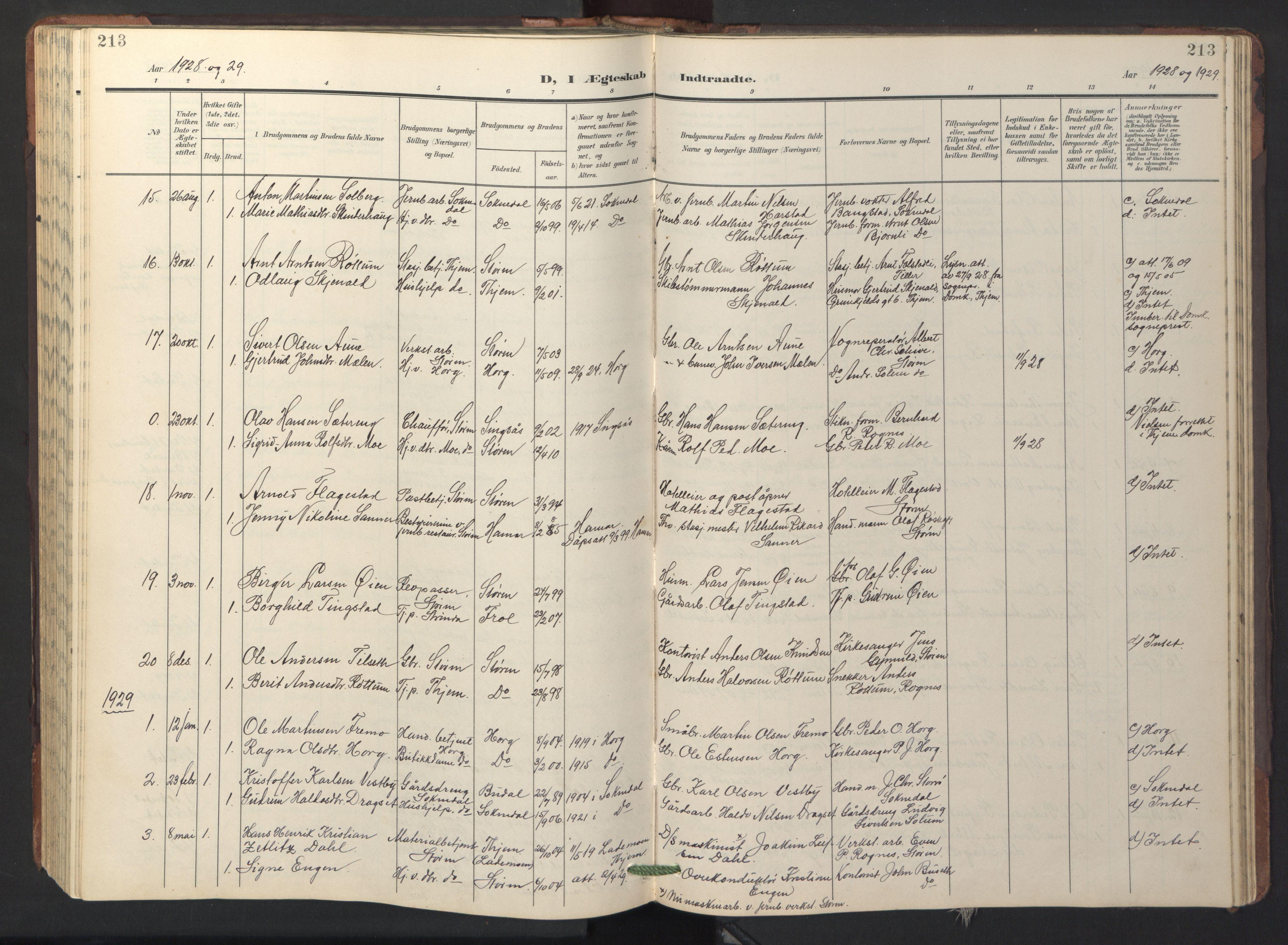 SAT, Ministerialprotokoller, klokkerbøker og fødselsregistre - Sør-Trøndelag, 687/L1019: Klokkerbok nr. 687C03, 1904-1931, s. 213