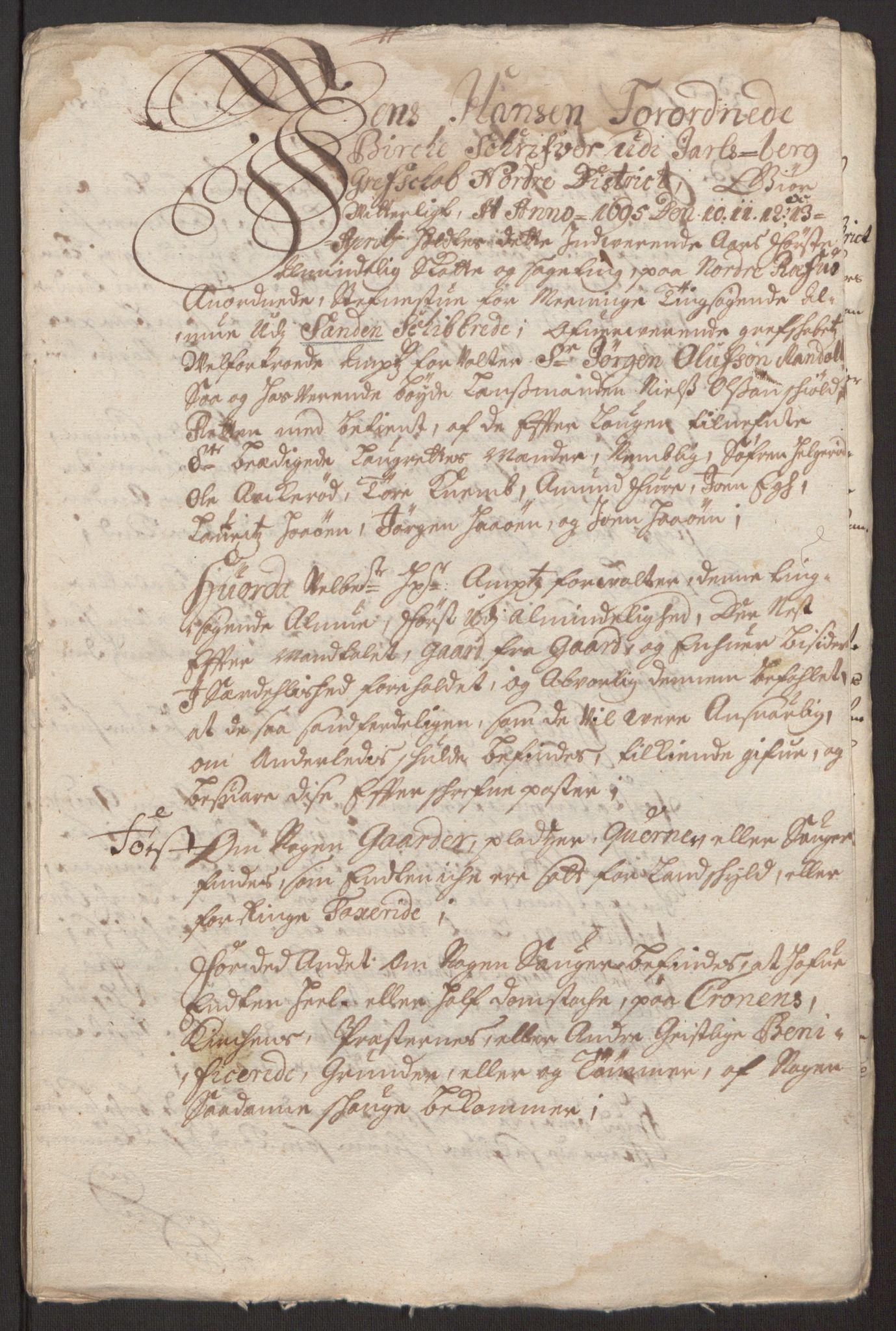 RA, Rentekammeret inntil 1814, Reviderte regnskaper, Fogderegnskap, R32/L1867: Fogderegnskap Jarlsberg grevskap, 1694-1696, s. 180
