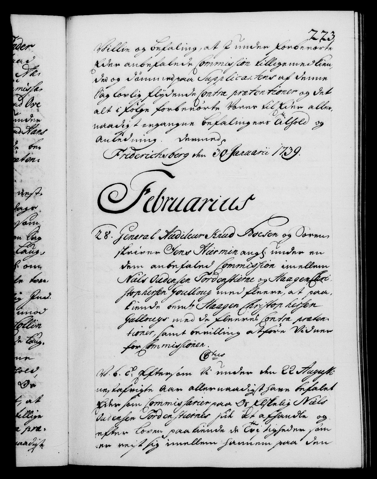 RA, Danske Kanselli 1572-1799, F/Fc/Fca/Fcab/L0028: Norske tegnelser, 1738-1740, s. 223a