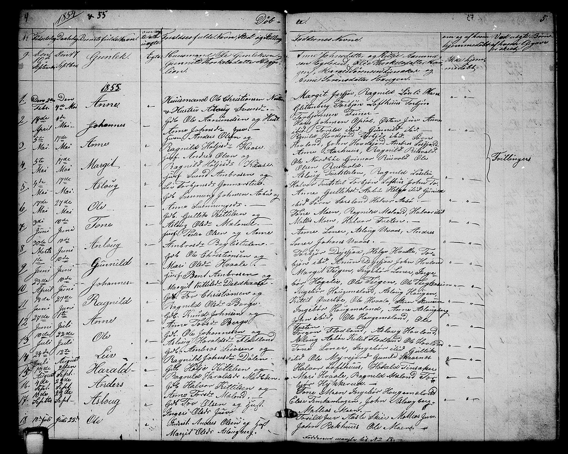 SAKO, Hjartdal kirkebøker, G/Ga/L0002: Klokkerbok nr. I 2, 1854-1888, s. 4-5