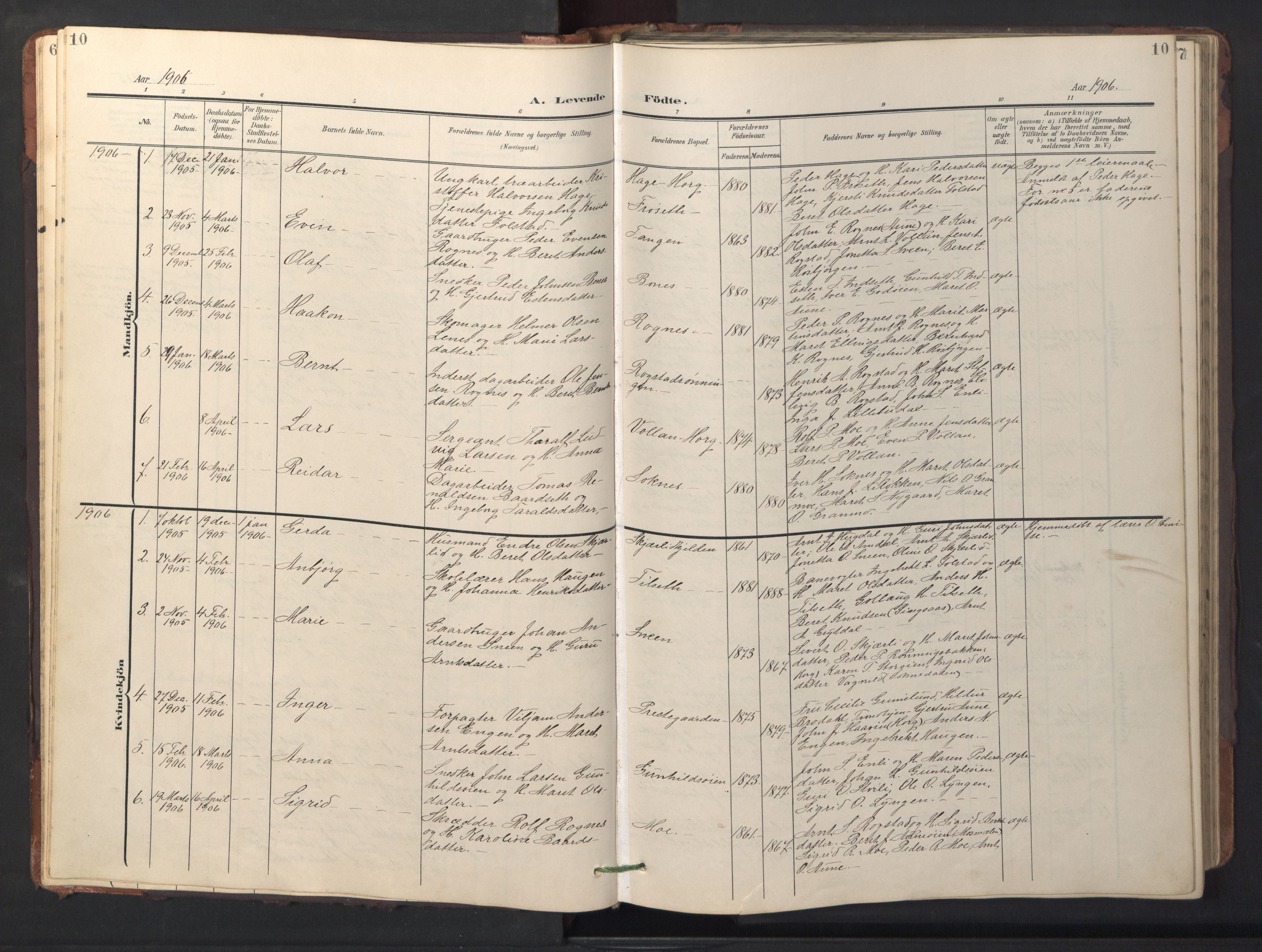 SAT, Ministerialprotokoller, klokkerbøker og fødselsregistre - Sør-Trøndelag, 687/L1019: Klokkerbok nr. 687C03, 1904-1931, s. 10