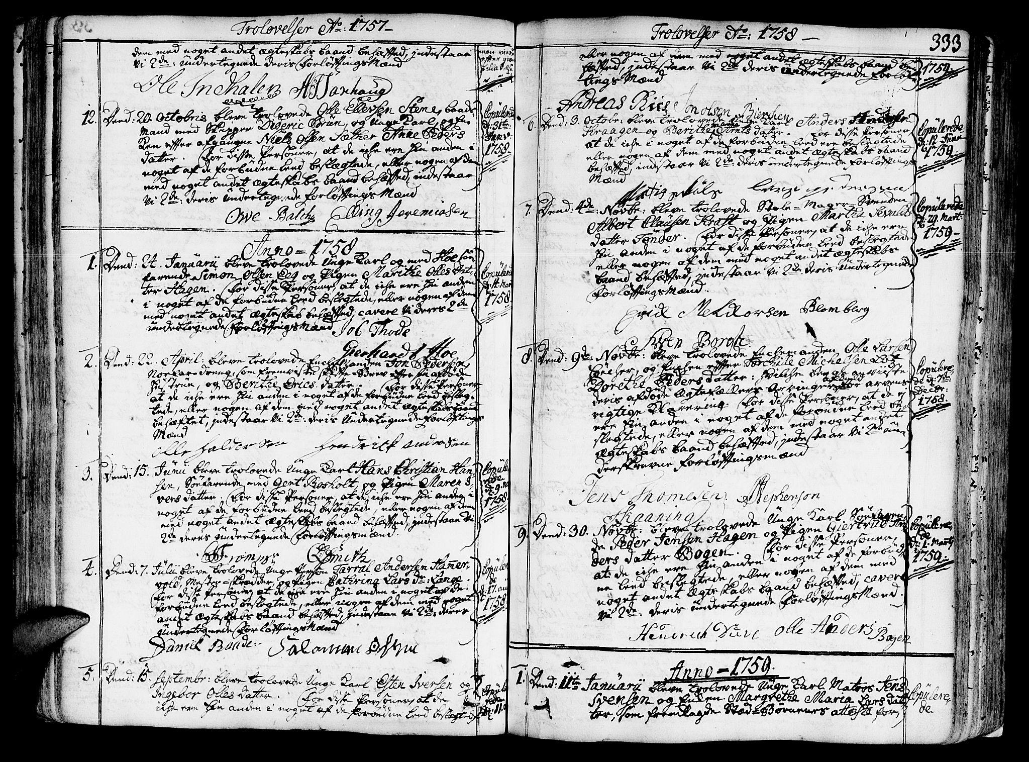 SAT, Ministerialprotokoller, klokkerbøker og fødselsregistre - Sør-Trøndelag, 602/L0103: Ministerialbok nr. 602A01, 1732-1774, s. 333