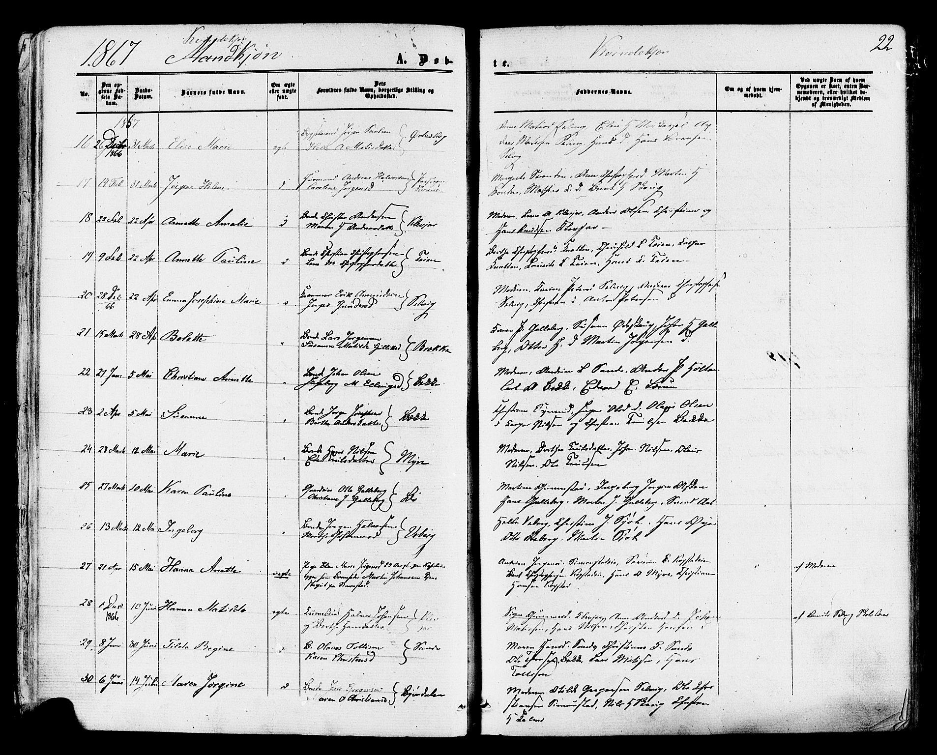 SAKO, Sande Kirkebøker, F/Fa/L0005: Ministerialbok nr. 5, 1865-1877, s. 22