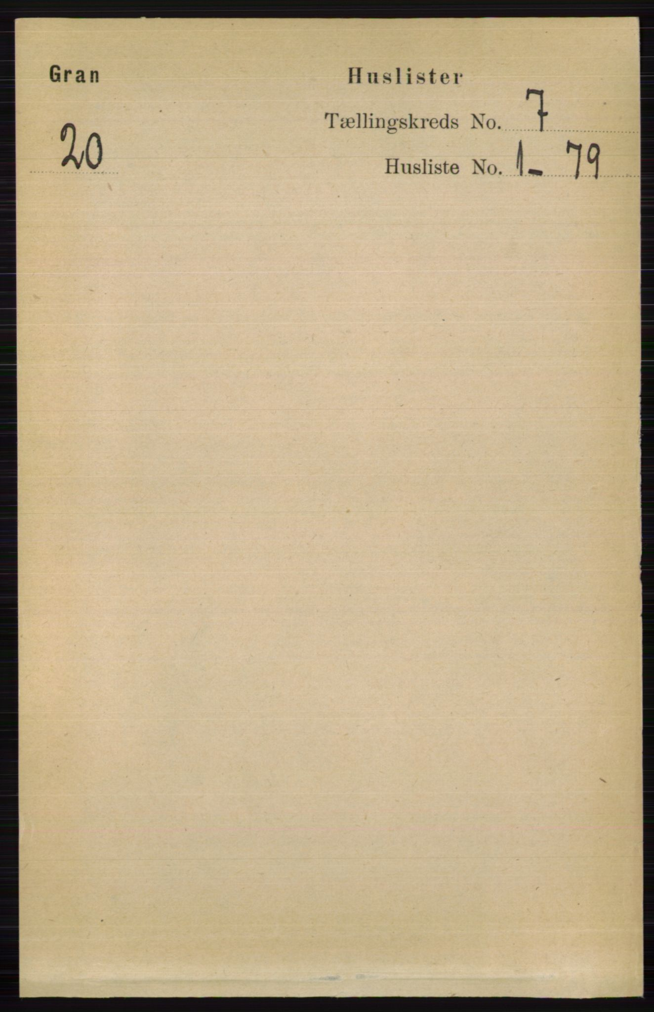 RA, Folketelling 1891 for 0534 Gran herred, 1891, s. 2714