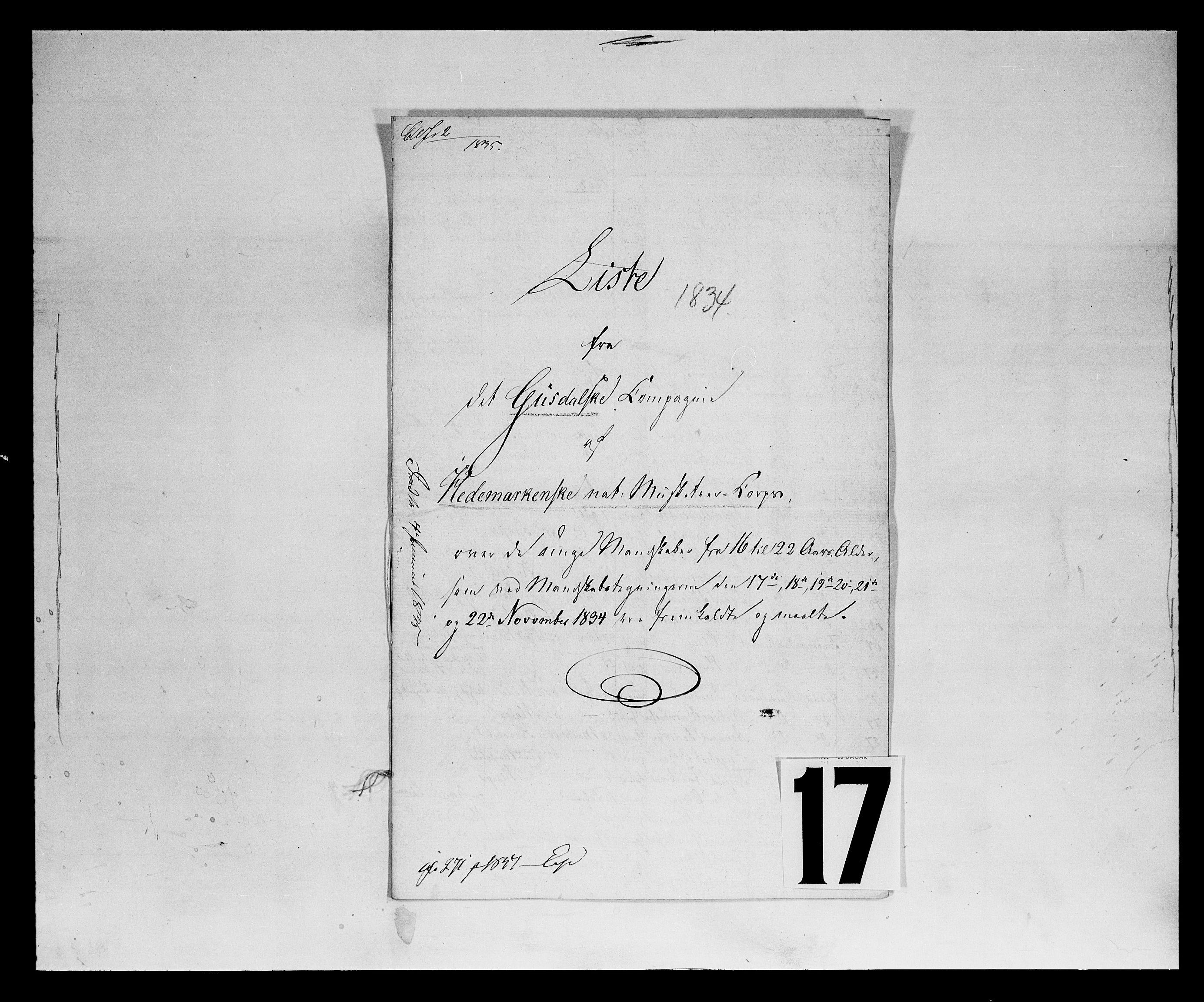 SAH, Fylkesmannen i Oppland, K/Ka/L1155: Gudbrandsdalen nasjonale musketérkorps - Gausdalske kompani, 3. og 4. divisjon av Opland landvernsbataljon, 1818-1860, s. 42