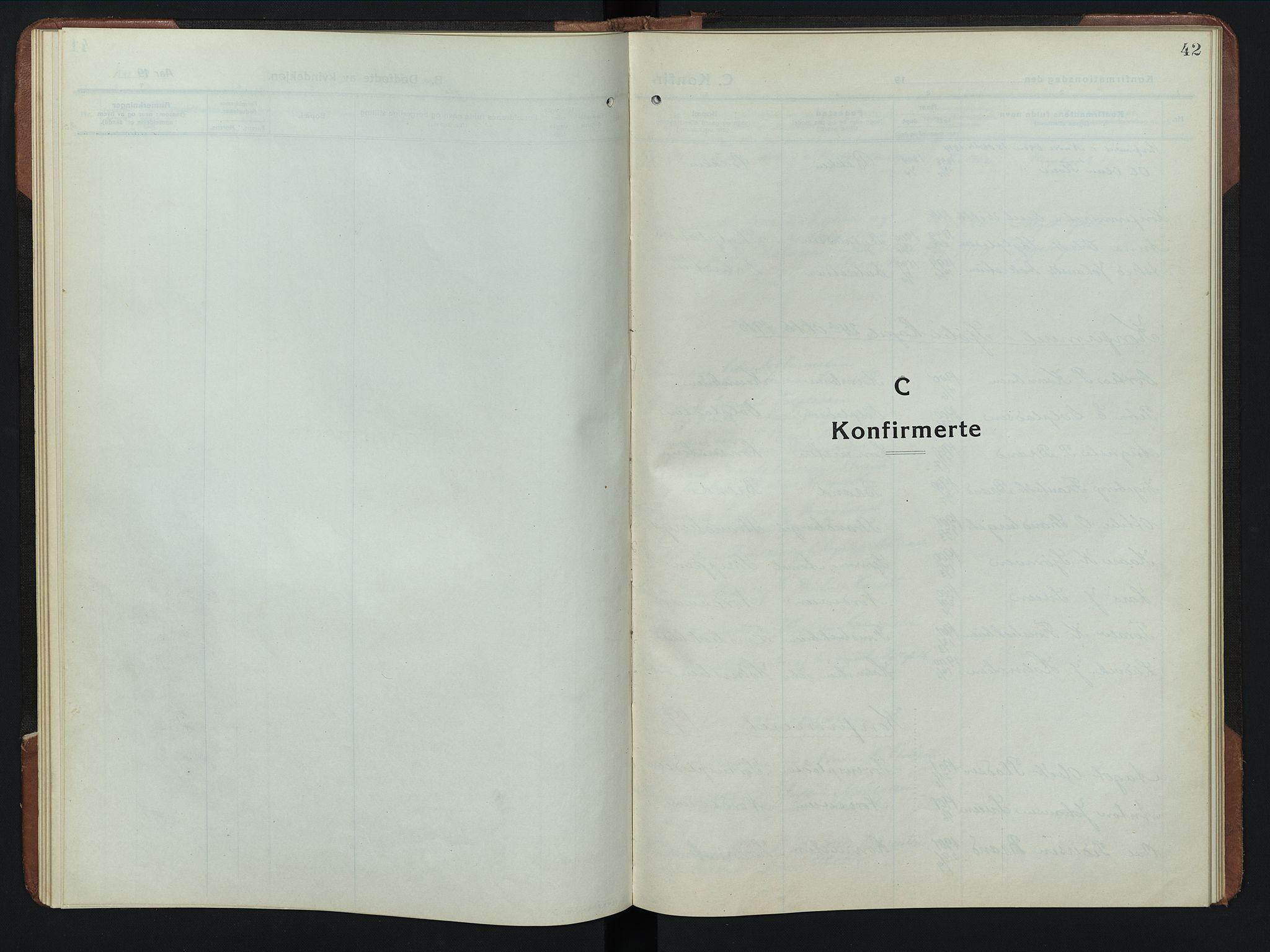 SAH, Rendalen prestekontor, H/Ha/Hab/L0008: Klokkerbok nr. 8, 1914-1948, s. 42