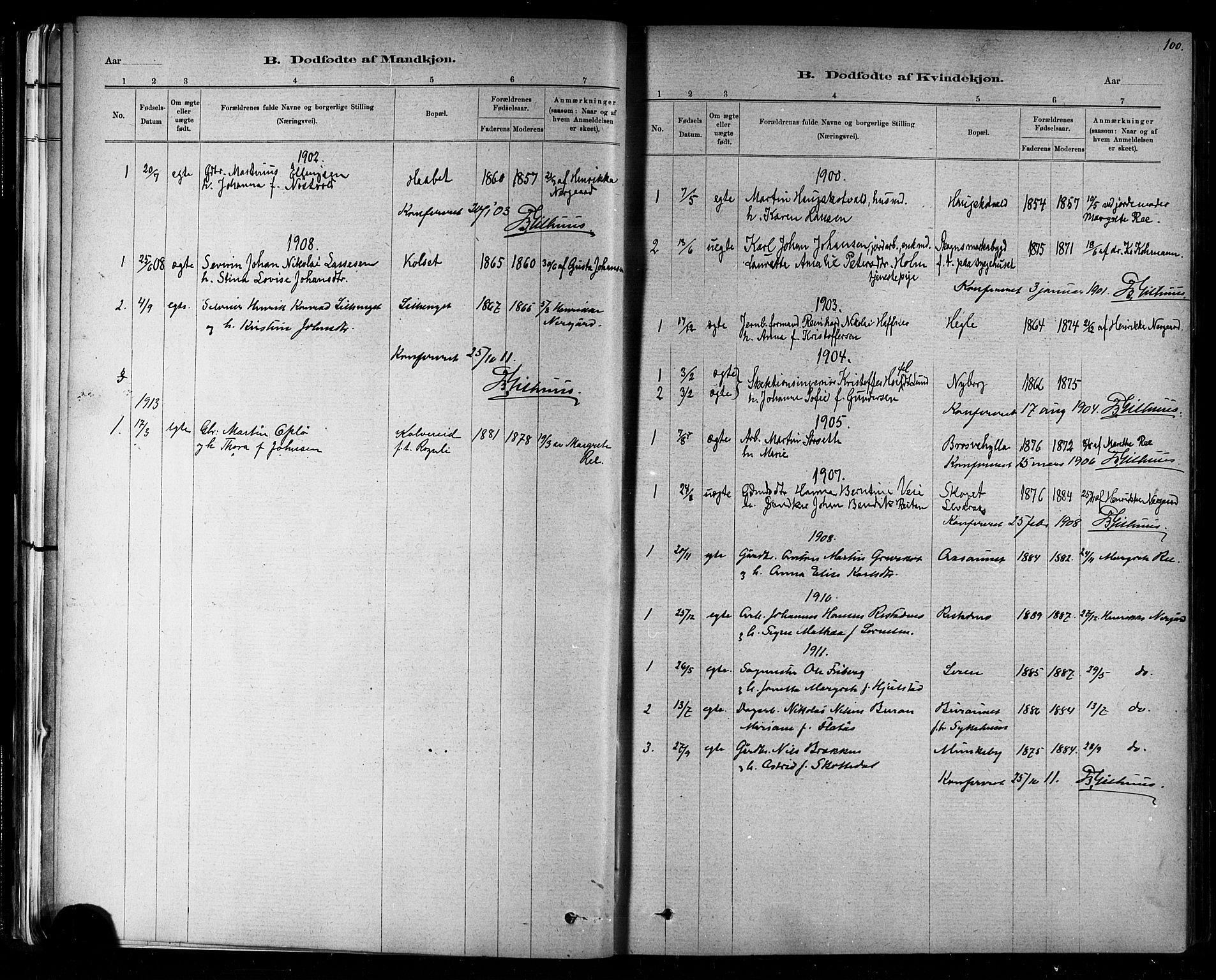 SAT, Ministerialprotokoller, klokkerbøker og fødselsregistre - Nord-Trøndelag, 721/L0208: Klokkerbok nr. 721C01, 1880-1917, s. 100