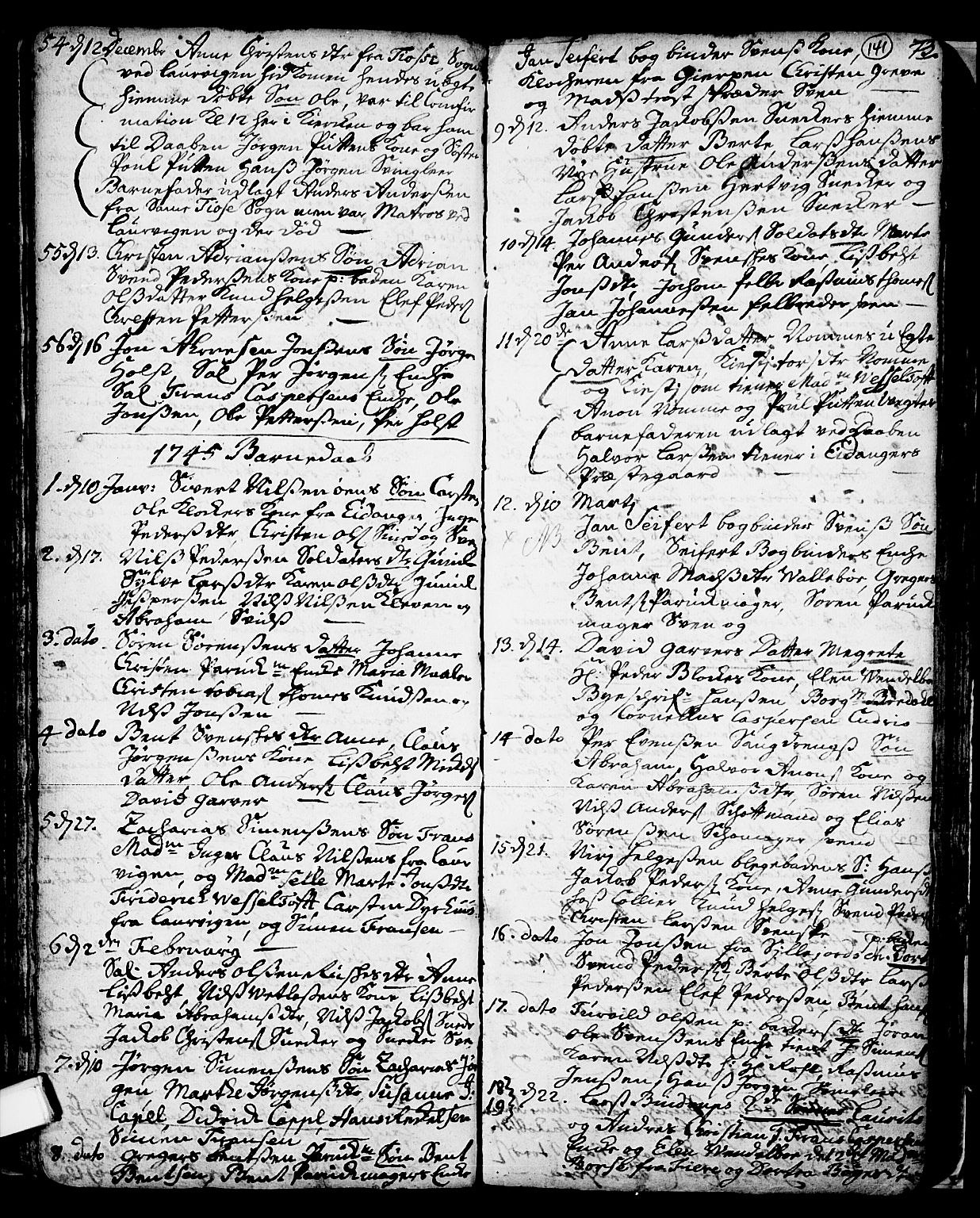 SAKO, Skien kirkebøker, F/Fa/L0002: Ministerialbok nr. 2, 1716-1757, s. 141