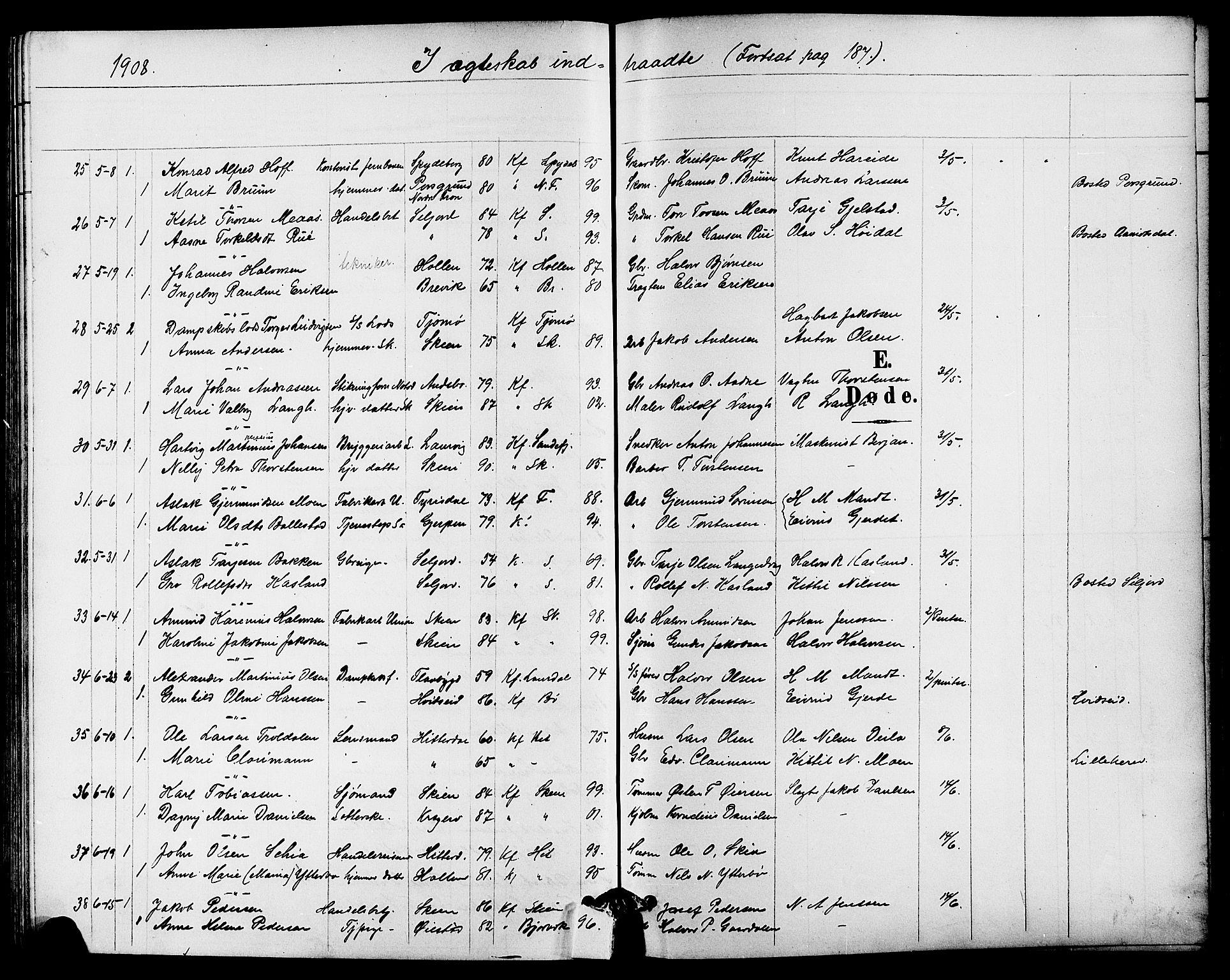 SAKO, Skien kirkebøker, G/Ga/L0008: Klokkerbok nr. 8, 1900-1910