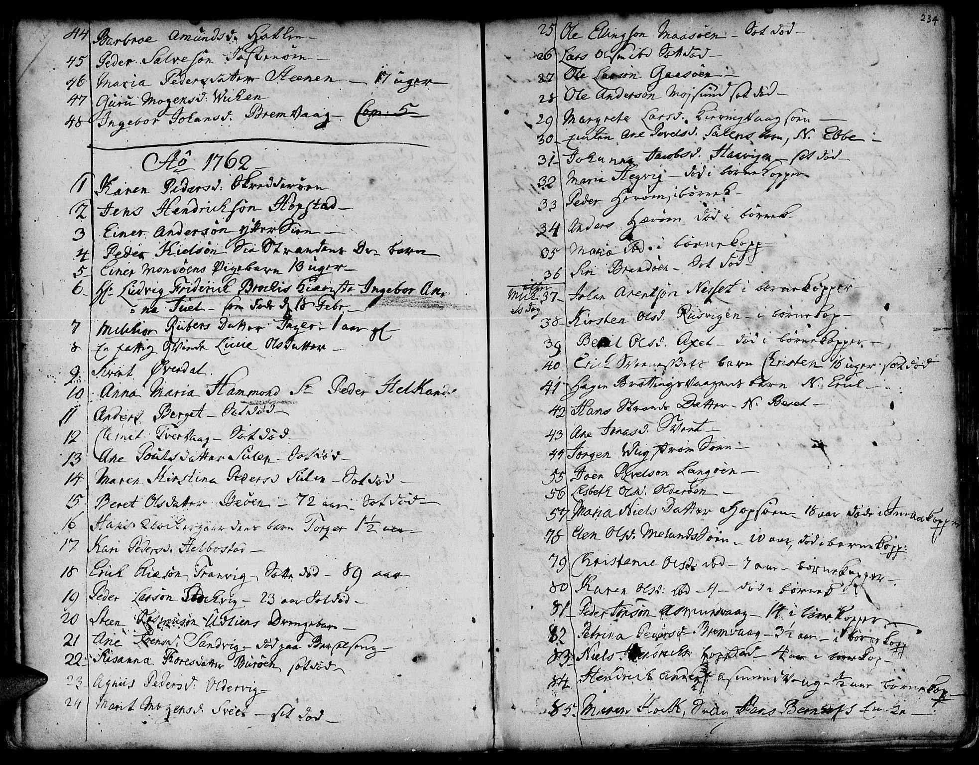 SAT, Ministerialprotokoller, klokkerbøker og fødselsregistre - Sør-Trøndelag, 634/L0525: Ministerialbok nr. 634A01, 1736-1775, s. 234