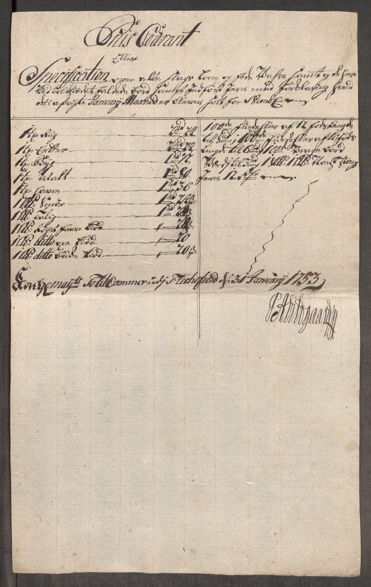 RA, Rentekammeret inntil 1814, Realistisk ordnet avdeling, Oe/L0005: [Ø1]: Priskuranter, 1753-1757, s. 147