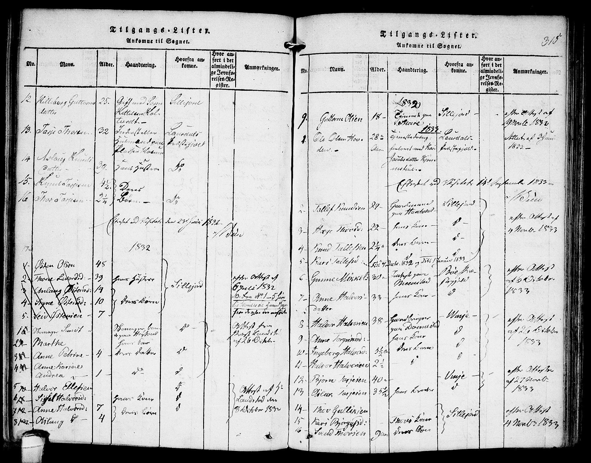 SAKO, Kviteseid kirkebøker, F/Fb/L0001: Ministerialbok nr. II 1, 1815-1836, s. 315