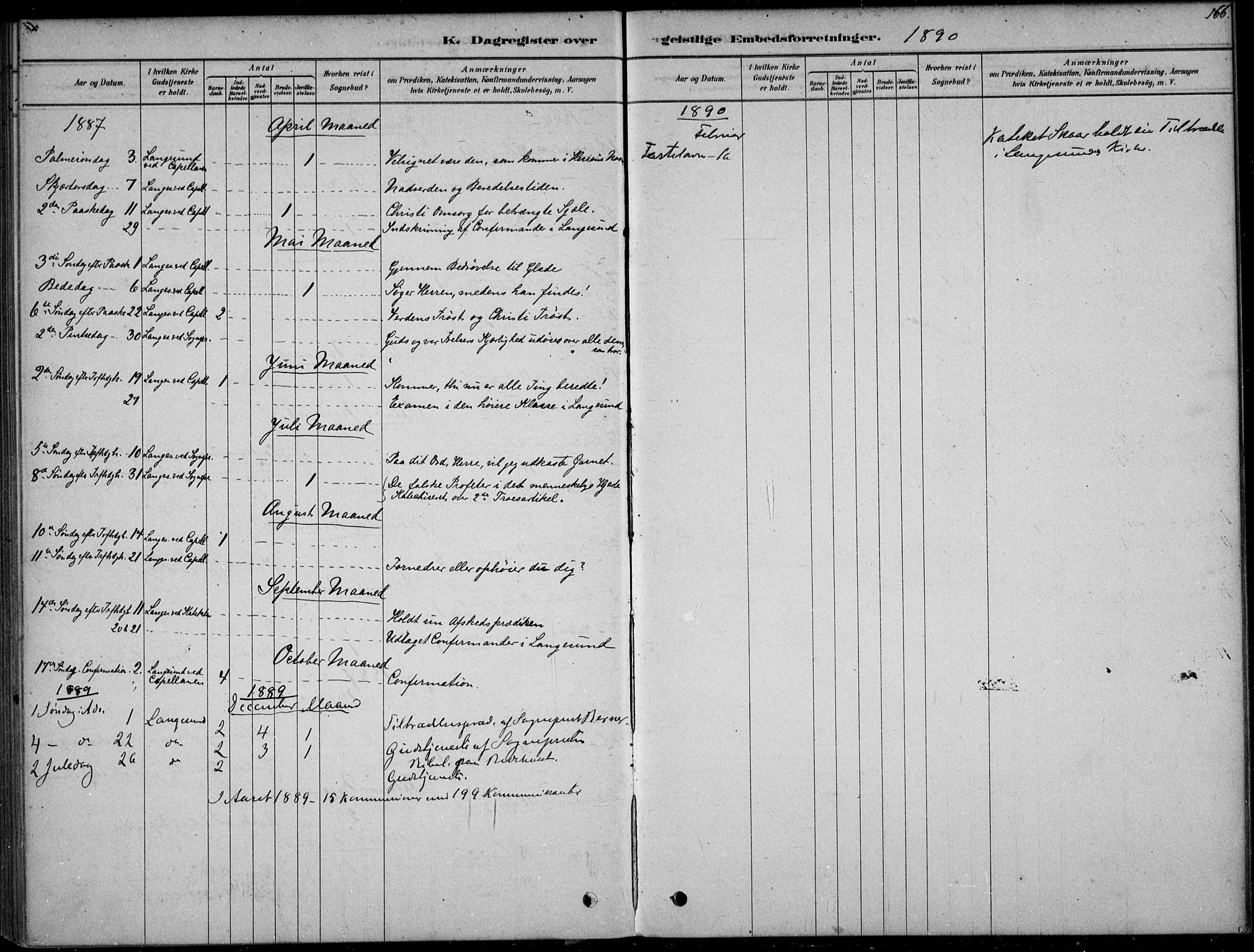 SAKO, Langesund kirkebøker, F/Fa/L0002: Ministerialbok nr. 2, 1878-1892, s. 166