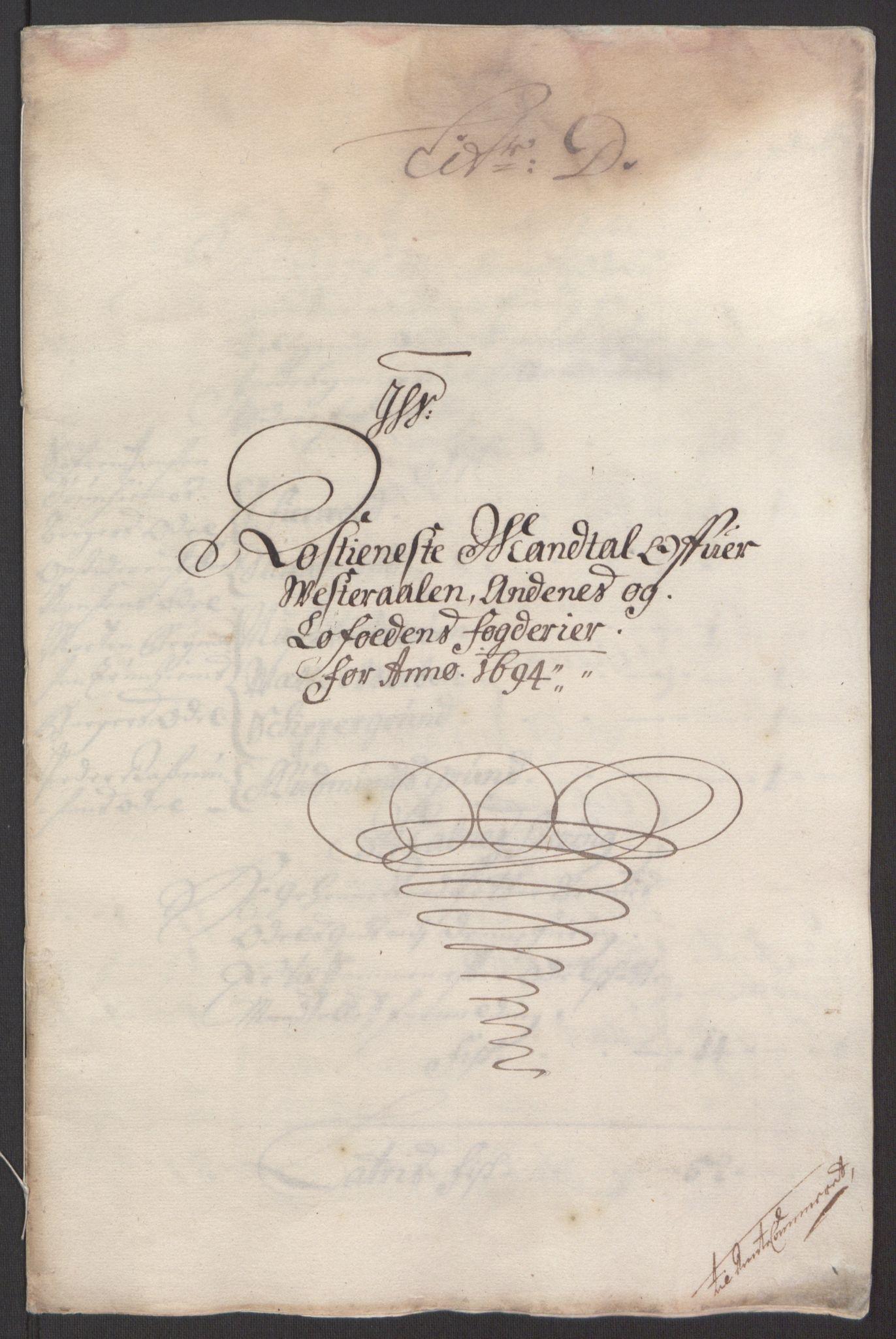 RA, Rentekammeret inntil 1814, Reviderte regnskaper, Fogderegnskap, R67/L4677: Fogderegnskap Vesterålen, Andenes og Lofoten, 1694-1695, s. 70