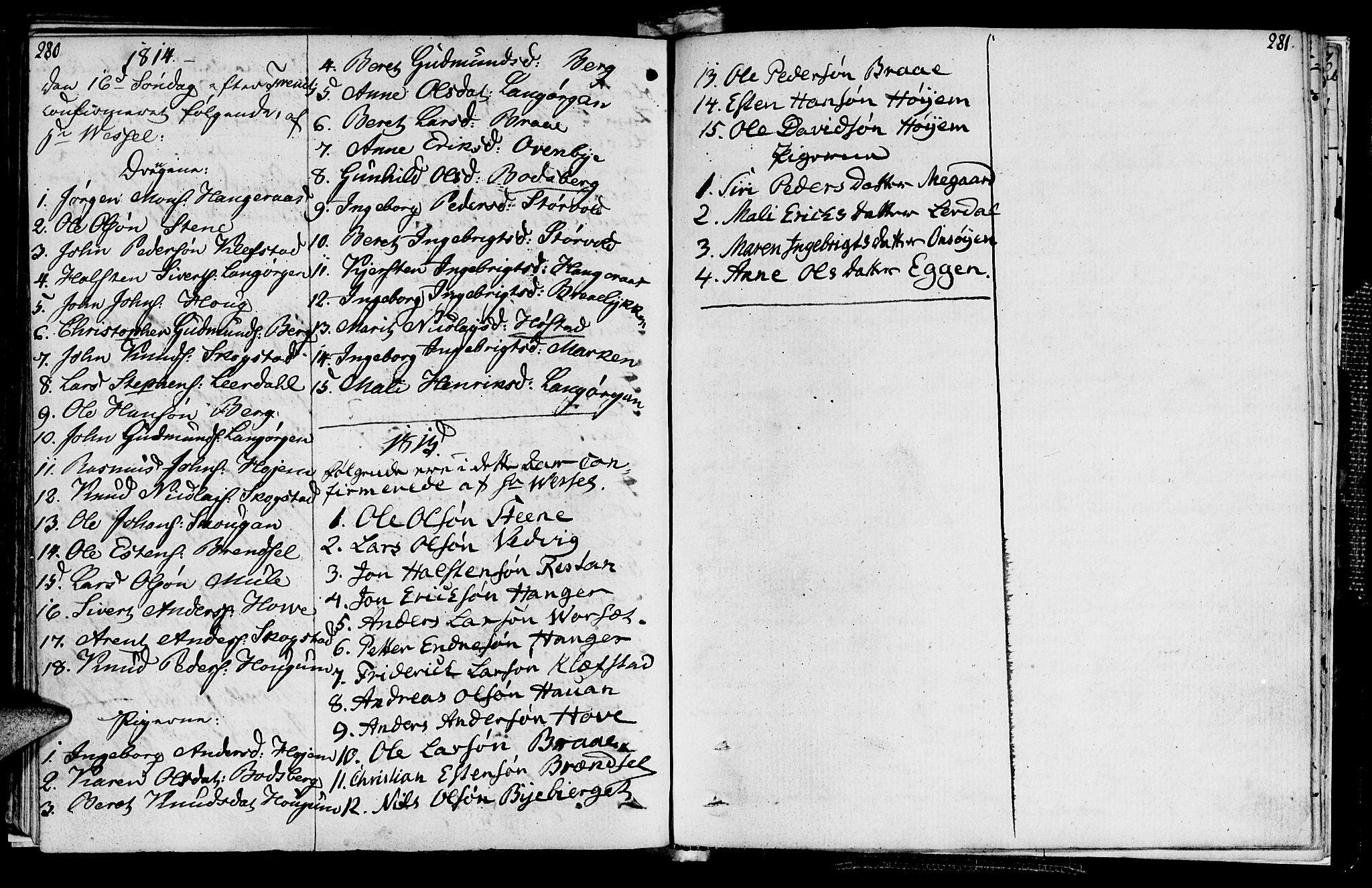 SAT, Ministerialprotokoller, klokkerbøker og fødselsregistre - Sør-Trøndelag, 612/L0371: Ministerialbok nr. 612A05, 1803-1816, s. 280-281