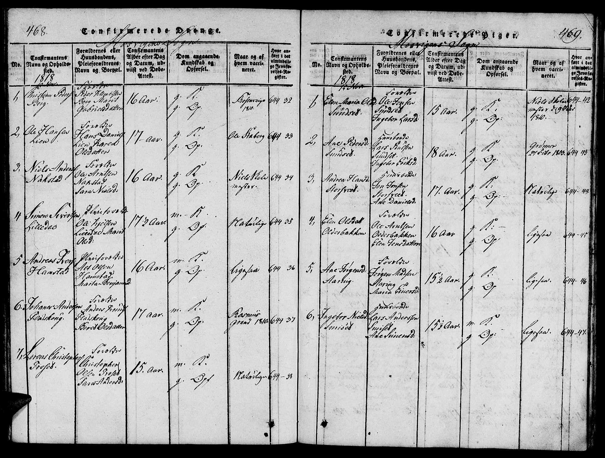 SAT, Ministerialprotokoller, klokkerbøker og fødselsregistre - Nord-Trøndelag, 733/L0322: Ministerialbok nr. 733A01, 1817-1842, s. 468-469
