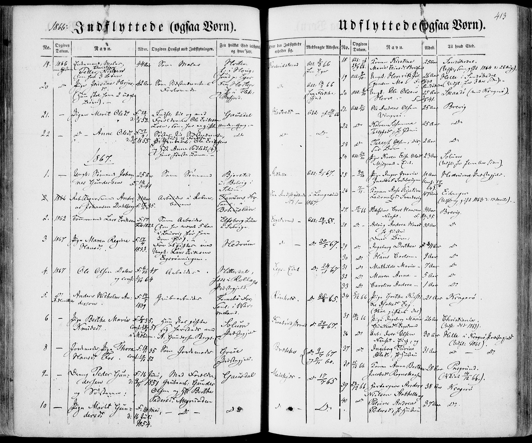 SAKO, Bamble kirkebøker, F/Fa/L0005: Ministerialbok nr. I 5, 1854-1869, s. 413