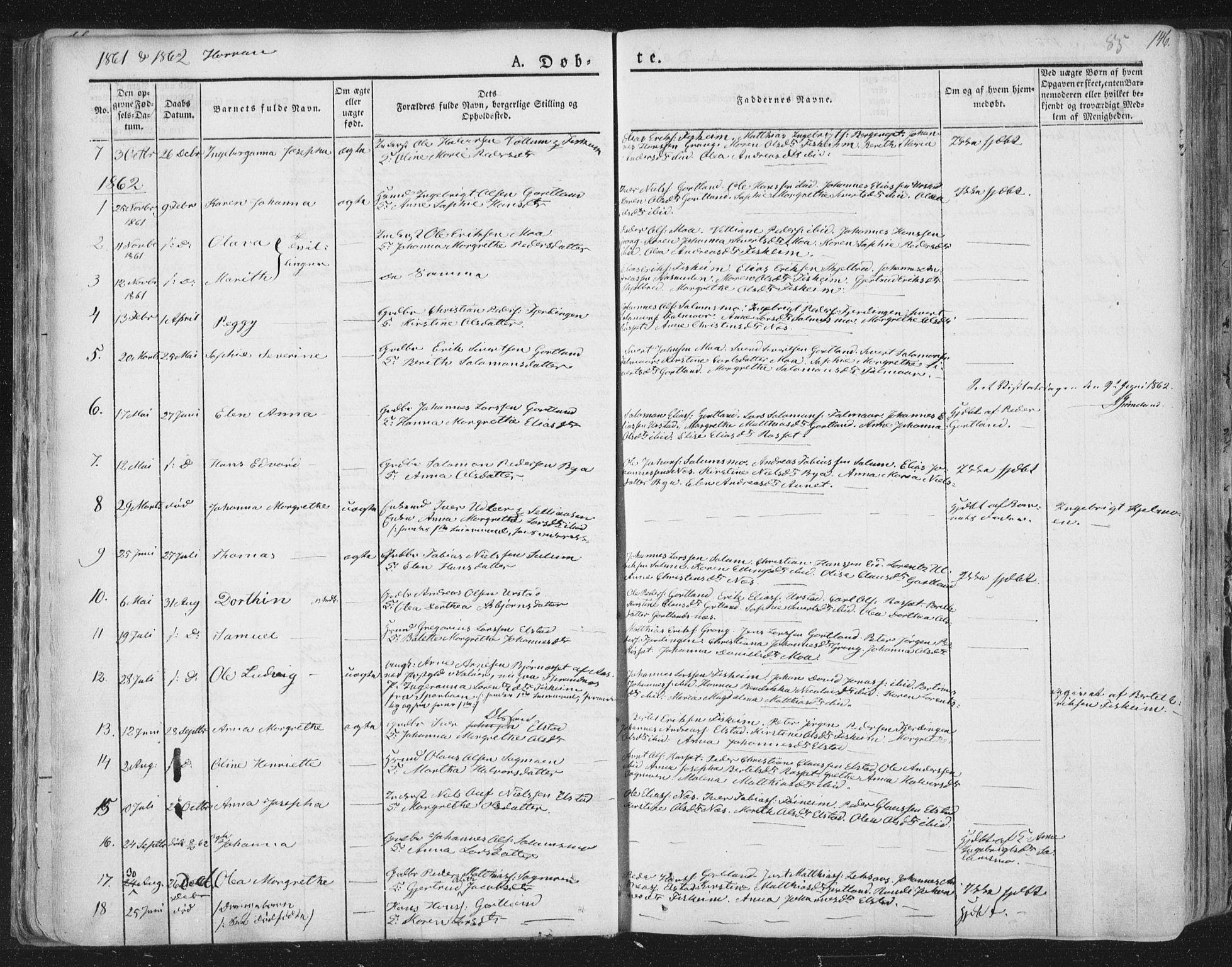 SAT, Ministerialprotokoller, klokkerbøker og fødselsregistre - Nord-Trøndelag, 758/L0513: Ministerialbok nr. 758A02 /3, 1839-1868, s. 85