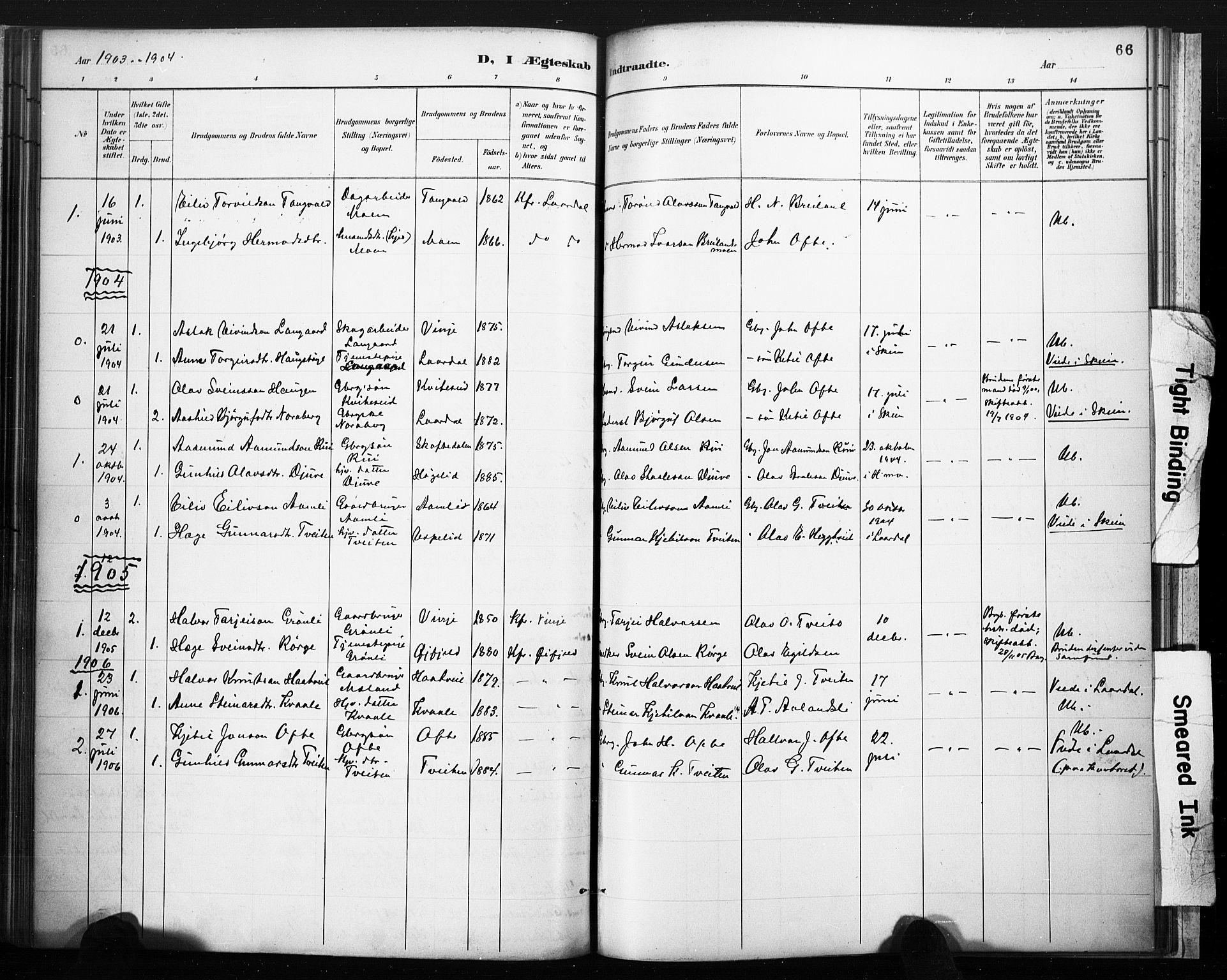 SAKO, Lårdal kirkebøker, F/Fc/L0002: Ministerialbok nr. III 2, 1887-1906, s. 66