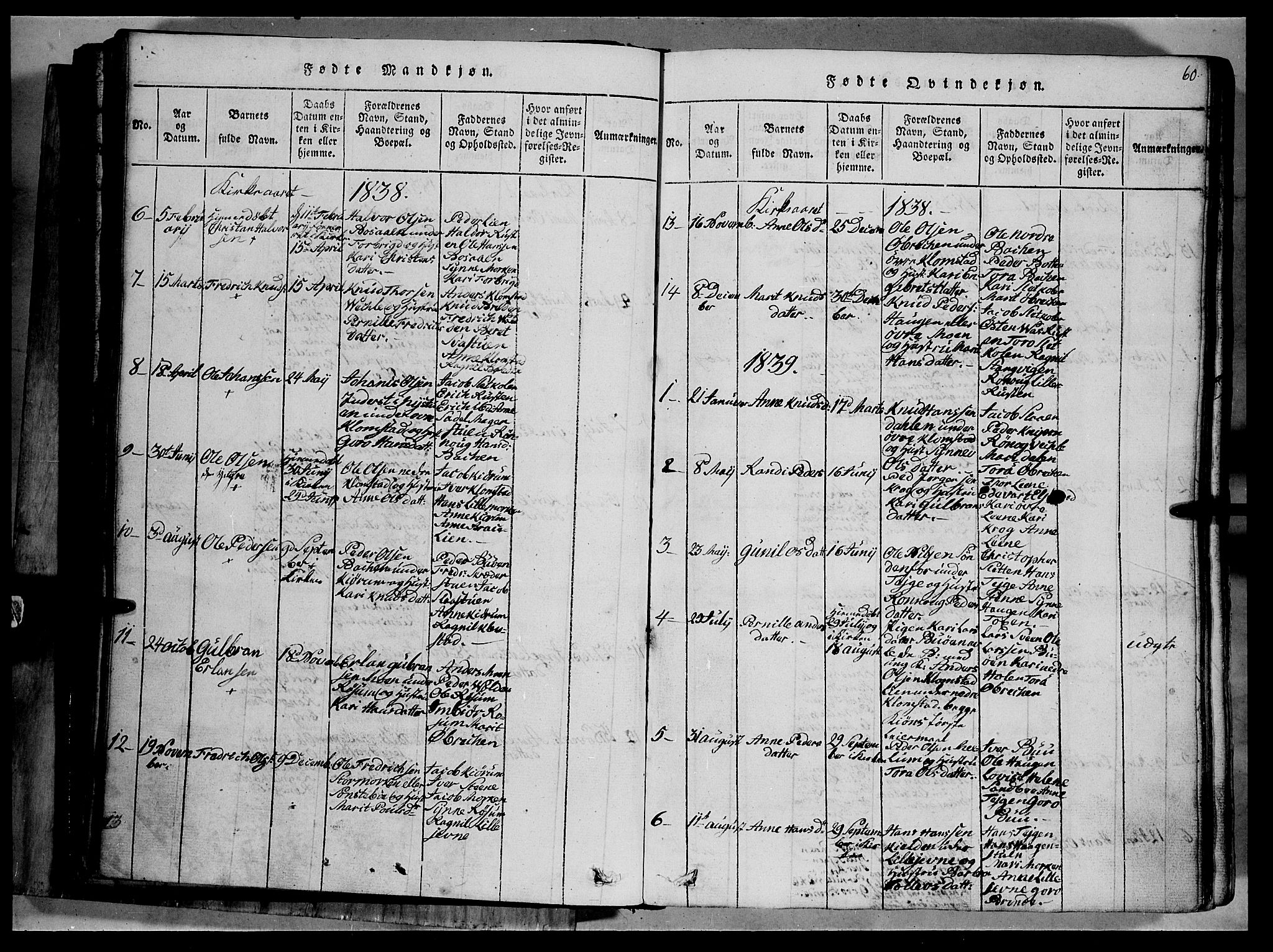 SAH, Fron prestekontor, H/Ha/Hab/L0002: Klokkerbok nr. 2, 1816-1850, s. 60
