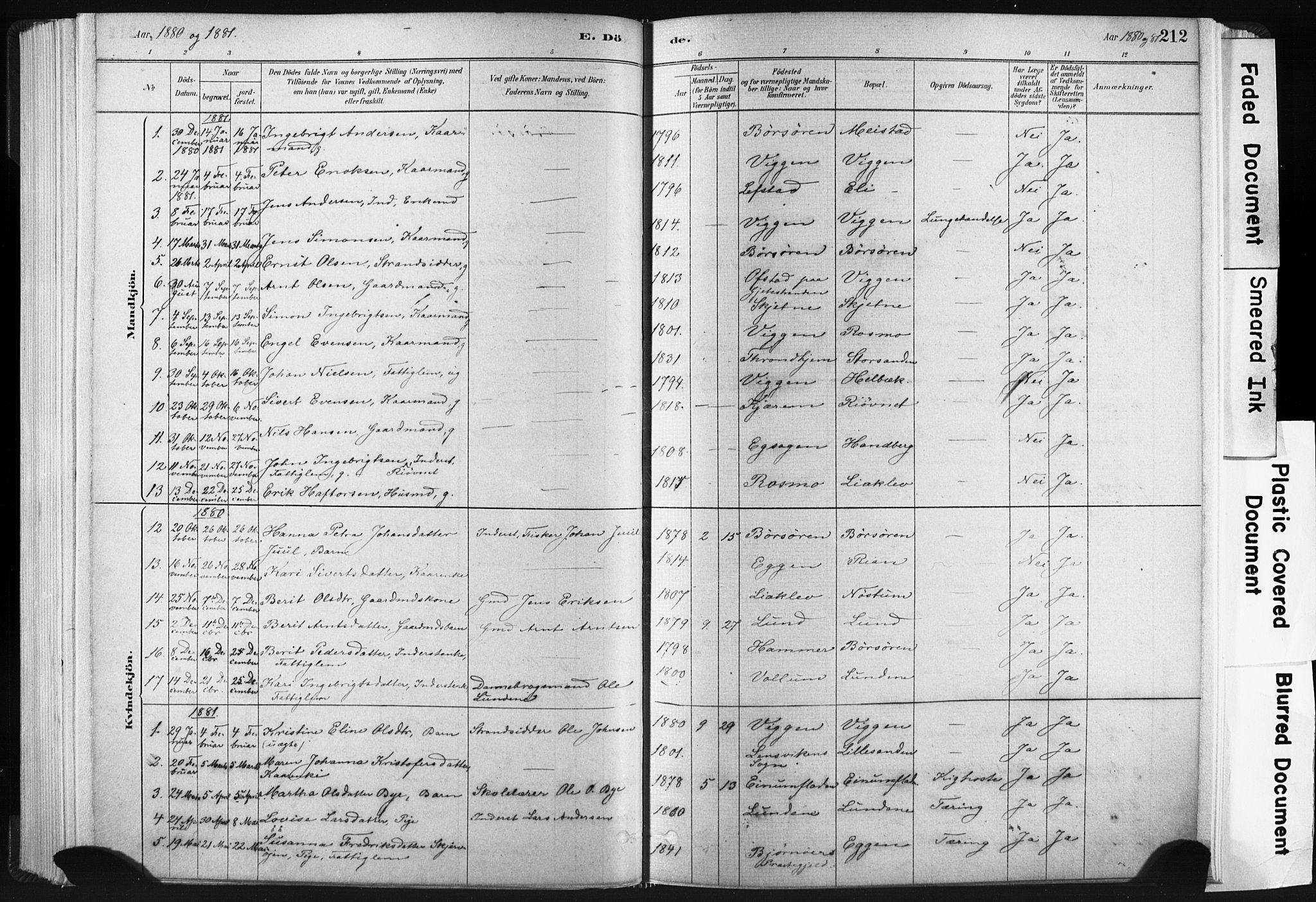 SAT, Ministerialprotokoller, klokkerbøker og fødselsregistre - Sør-Trøndelag, 665/L0773: Ministerialbok nr. 665A08, 1879-1905, s. 212