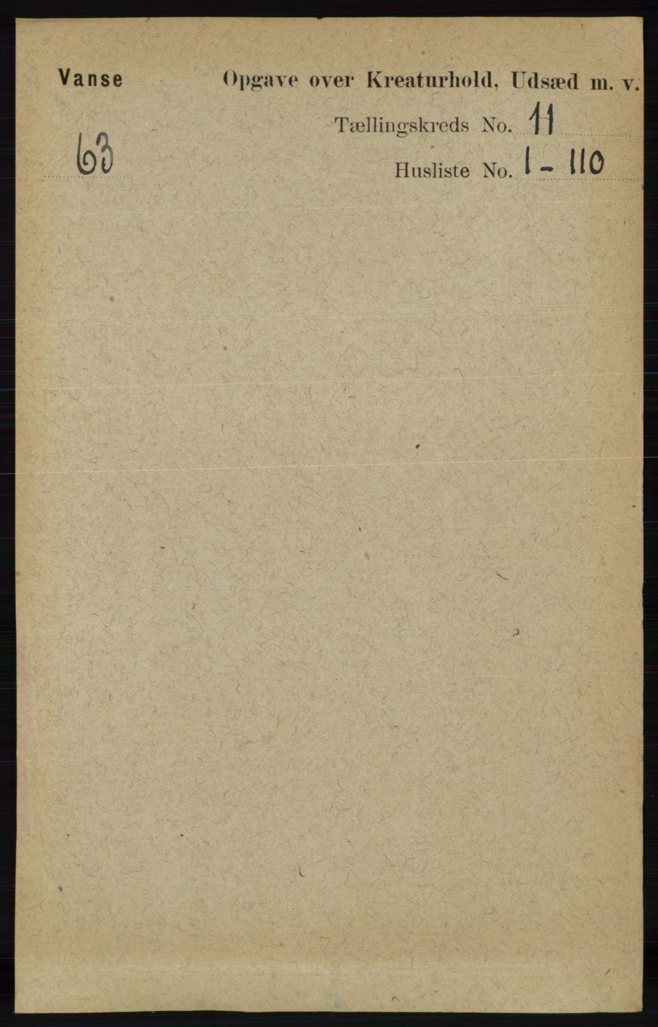 RA, Folketelling 1891 for 1041 Vanse herred, 1891, s. 9869