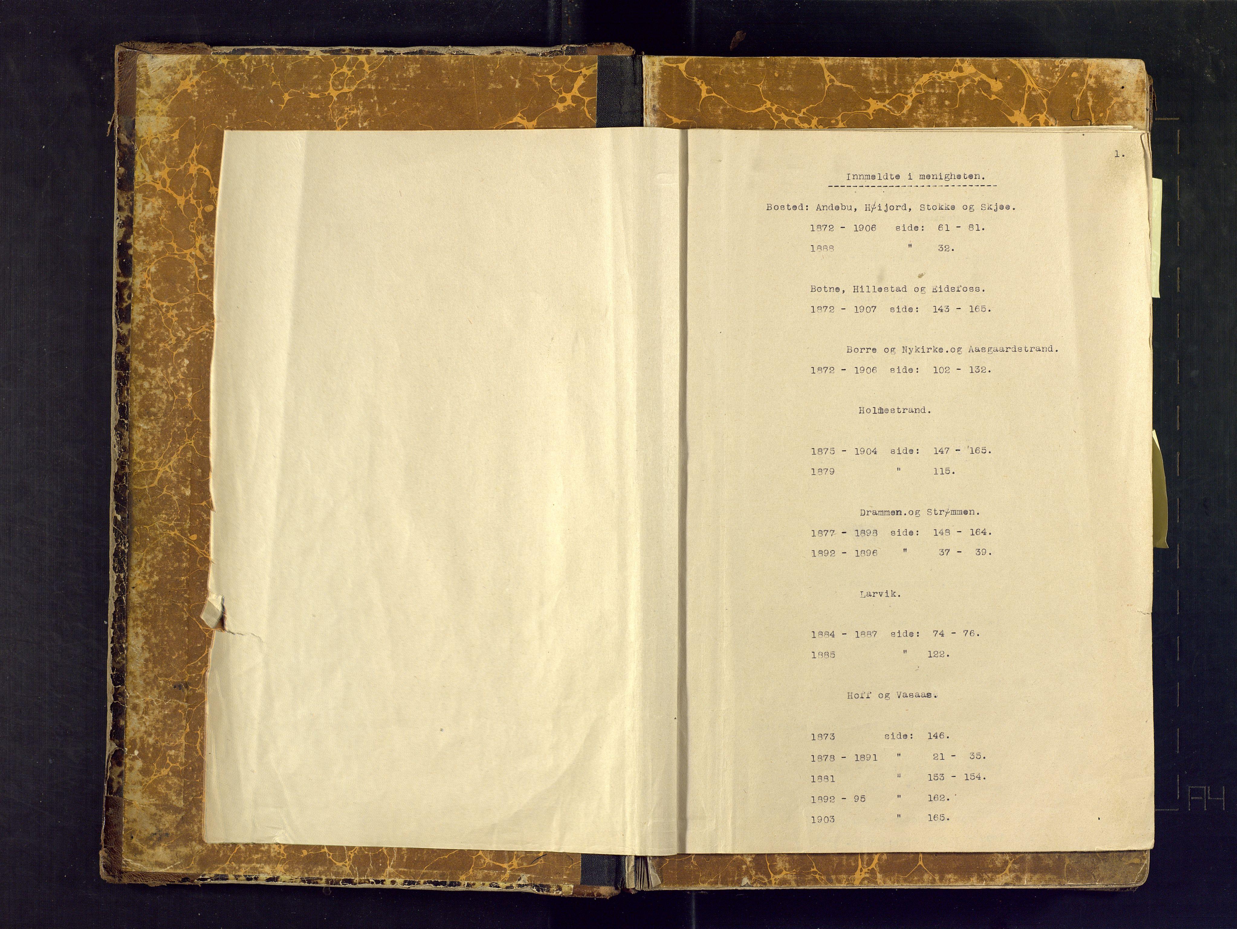 SAKO, Den evangeliske lutherske frimenighet (SAKO), Dissenterprotokoll nr. Fb/L0001, 1872-1907