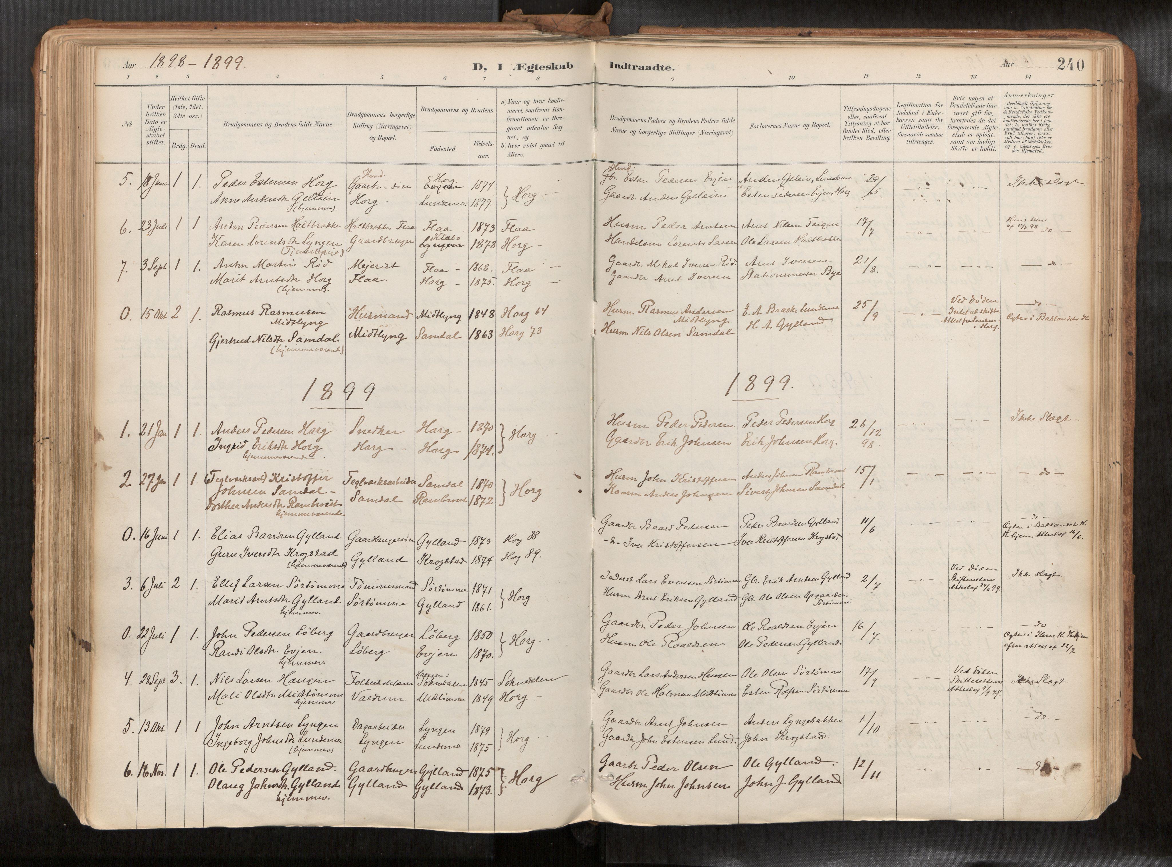 SAT, Ministerialprotokoller, klokkerbøker og fødselsregistre - Sør-Trøndelag, 692/L1105b: Ministerialbok nr. 692A06, 1891-1934, s. 240