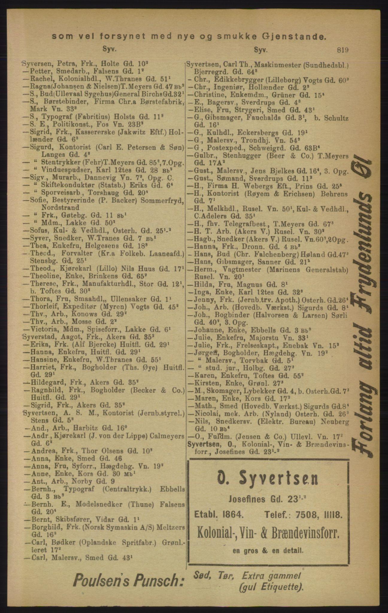 RA, Kristiania adressebok (publikasjon)*, 1906, s. 819