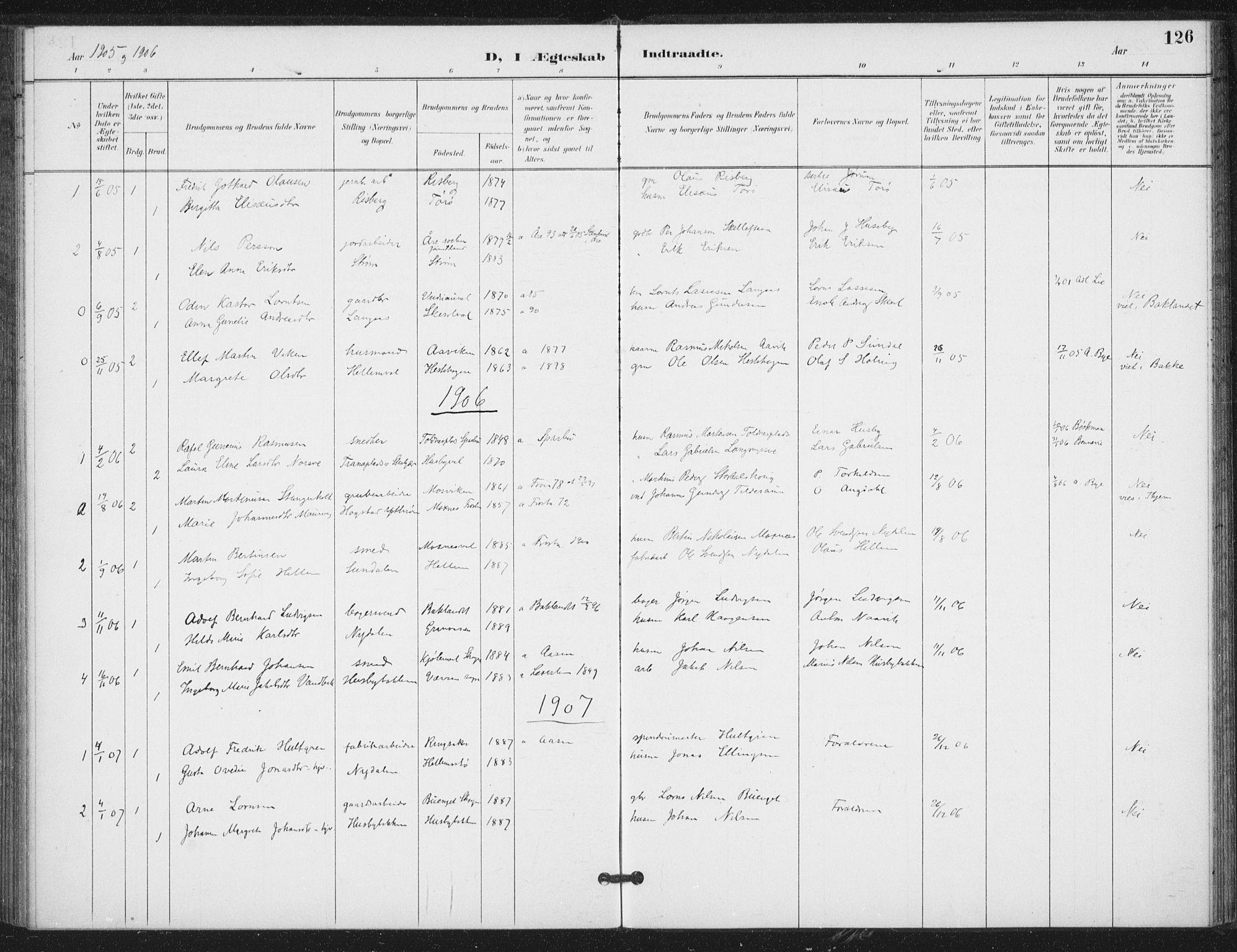 SAT, Ministerialprotokoller, klokkerbøker og fødselsregistre - Nord-Trøndelag, 714/L0131: Ministerialbok nr. 714A02, 1896-1918, s. 126