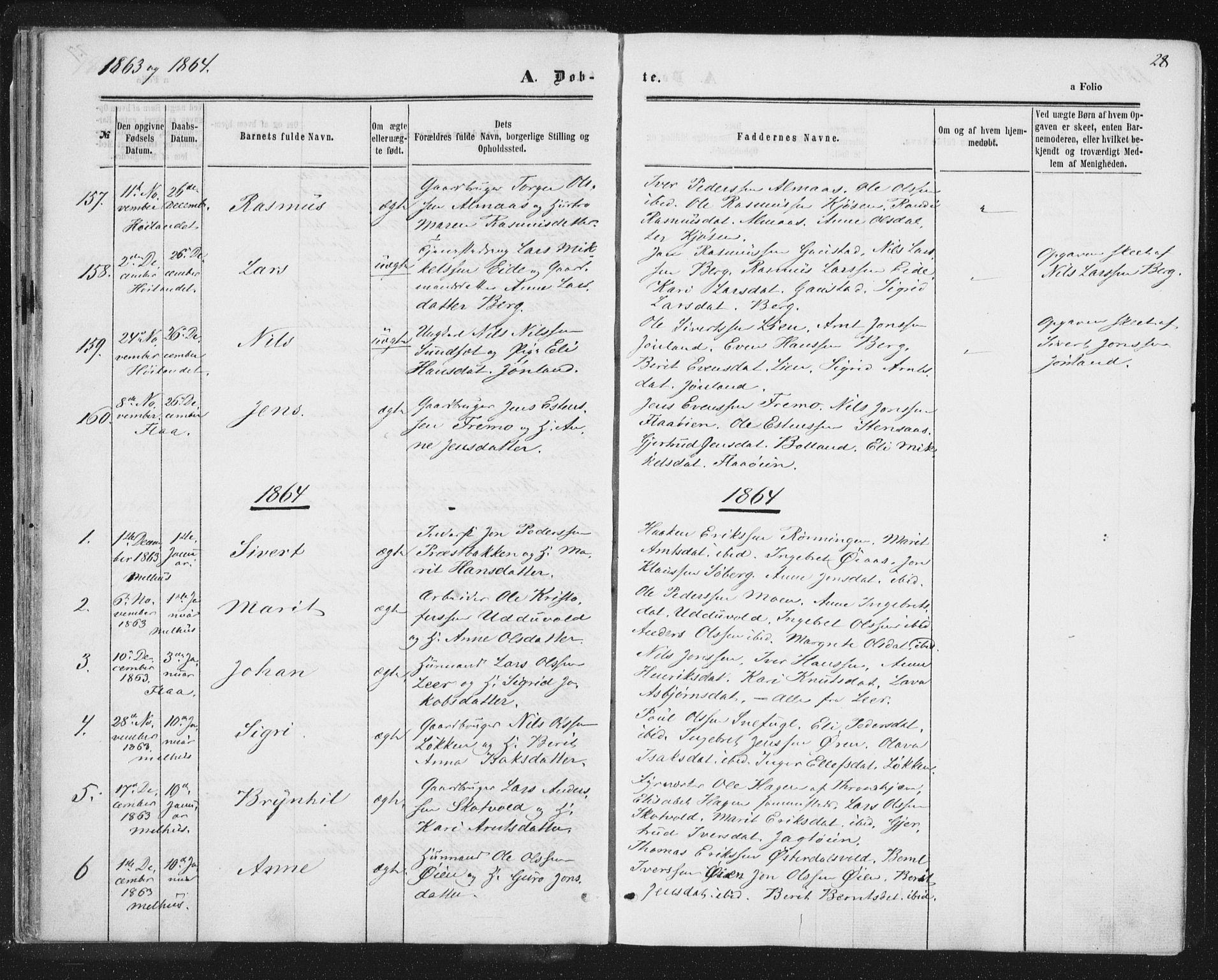 SAT, Ministerialprotokoller, klokkerbøker og fødselsregistre - Sør-Trøndelag, 691/L1077: Ministerialbok nr. 691A09, 1862-1873, s. 28