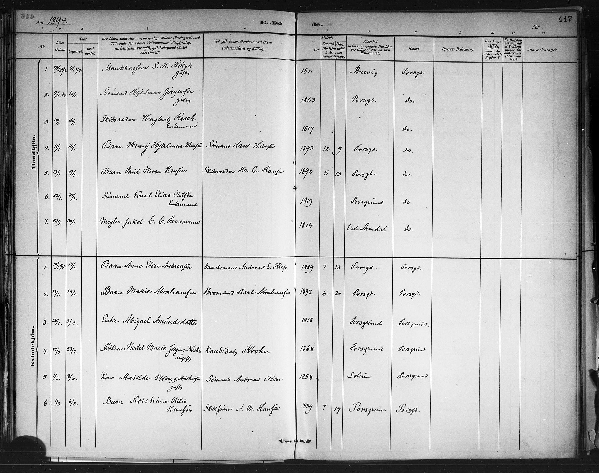 SAKO, Porsgrunn kirkebøker , G/Gb/L0005: Klokkerbok nr. II 5, 1883-1915, s. 447