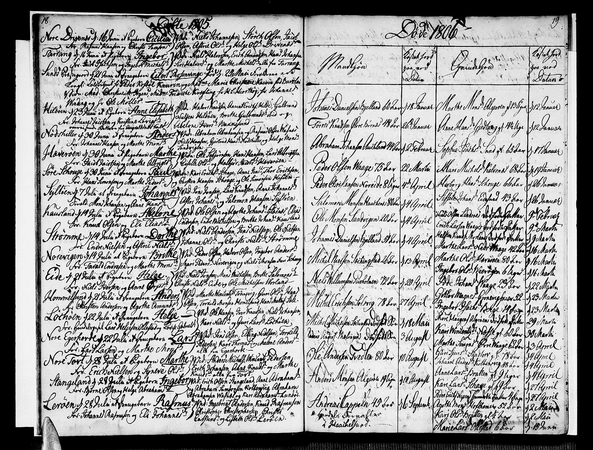 SAB, Sund sokneprestembete, Ministerialbok nr. A 10, 1804-1818, s. 18-19