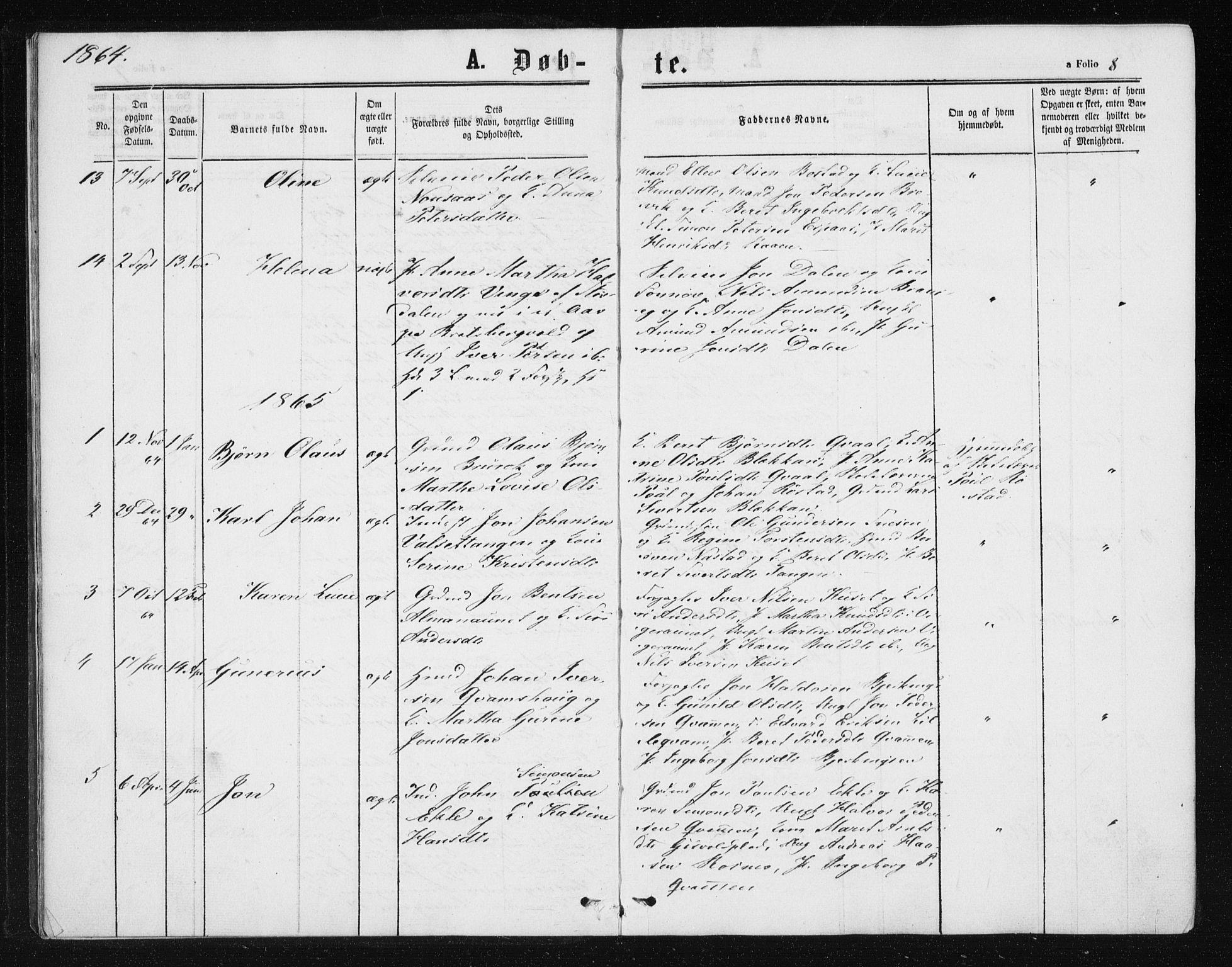 SAT, Ministerialprotokoller, klokkerbøker og fødselsregistre - Sør-Trøndelag, 608/L0333: Ministerialbok nr. 608A02, 1862-1876, s. 8