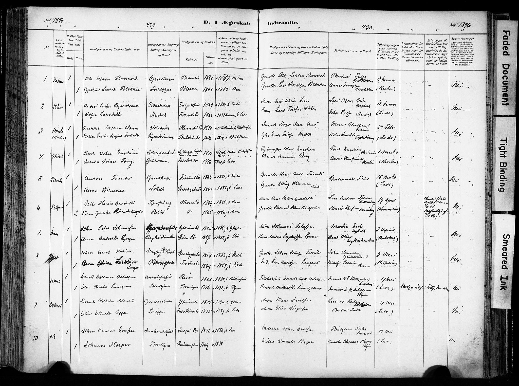 SAT, Ministerialprotokoller, klokkerbøker og fødselsregistre - Sør-Trøndelag, 606/L0301: Ministerialbok nr. 606A16, 1894-1907, s. 429-430