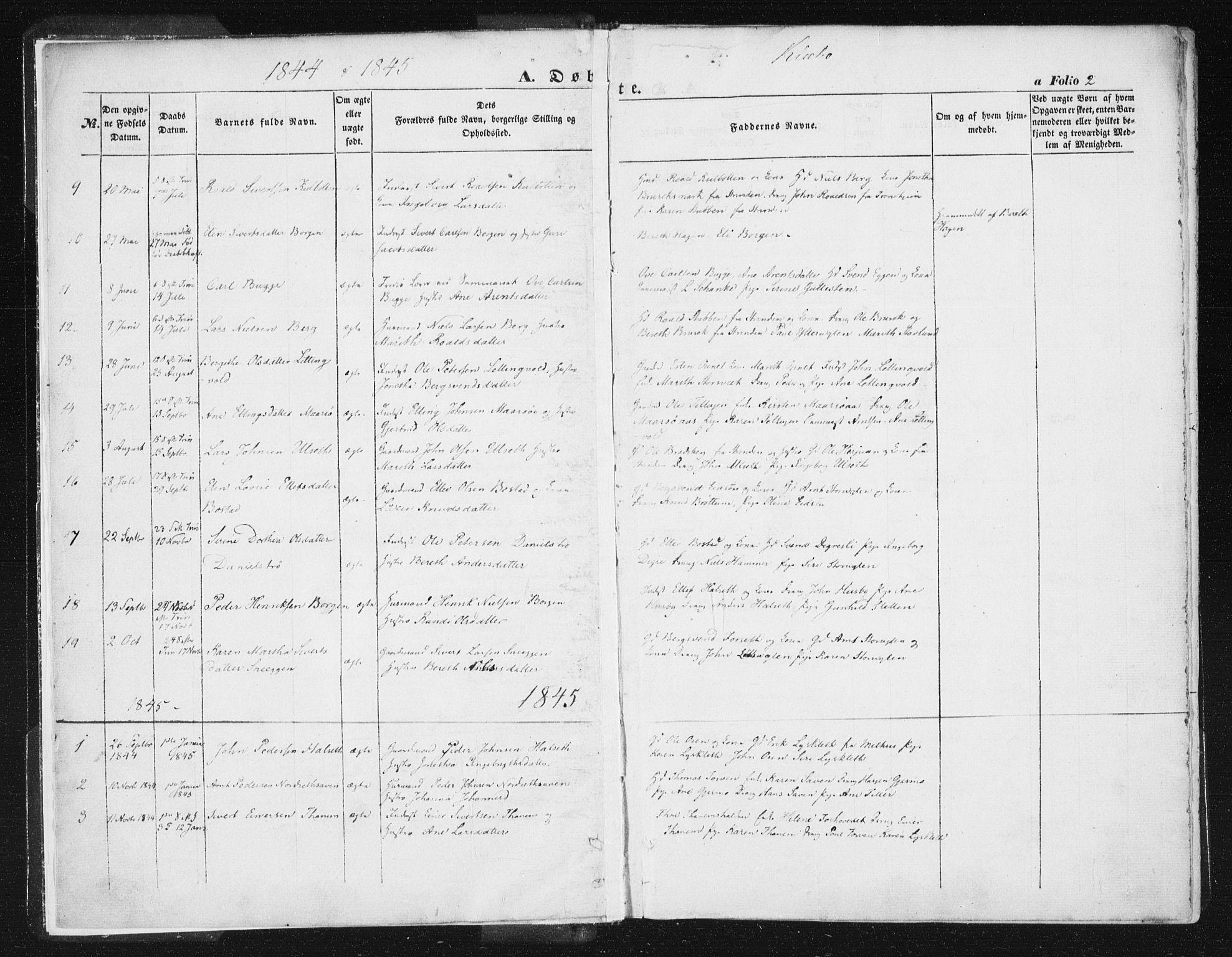 SAT, Ministerialprotokoller, klokkerbøker og fødselsregistre - Sør-Trøndelag, 618/L0441: Ministerialbok nr. 618A05, 1843-1862, s. 2