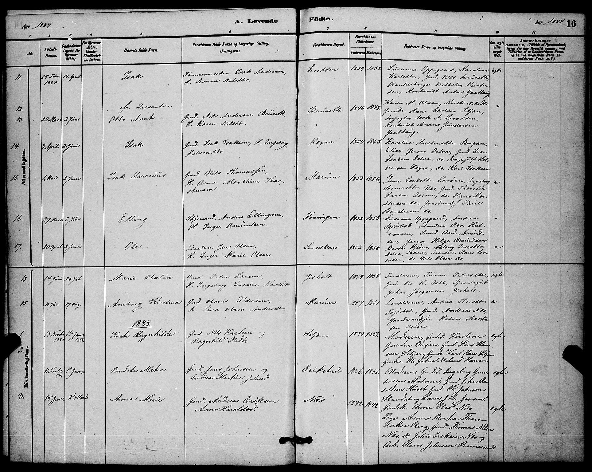 SAKO, Solum kirkebøker, G/Gb/L0003: Klokkerbok nr. II 3, 1880-1898, s. 16