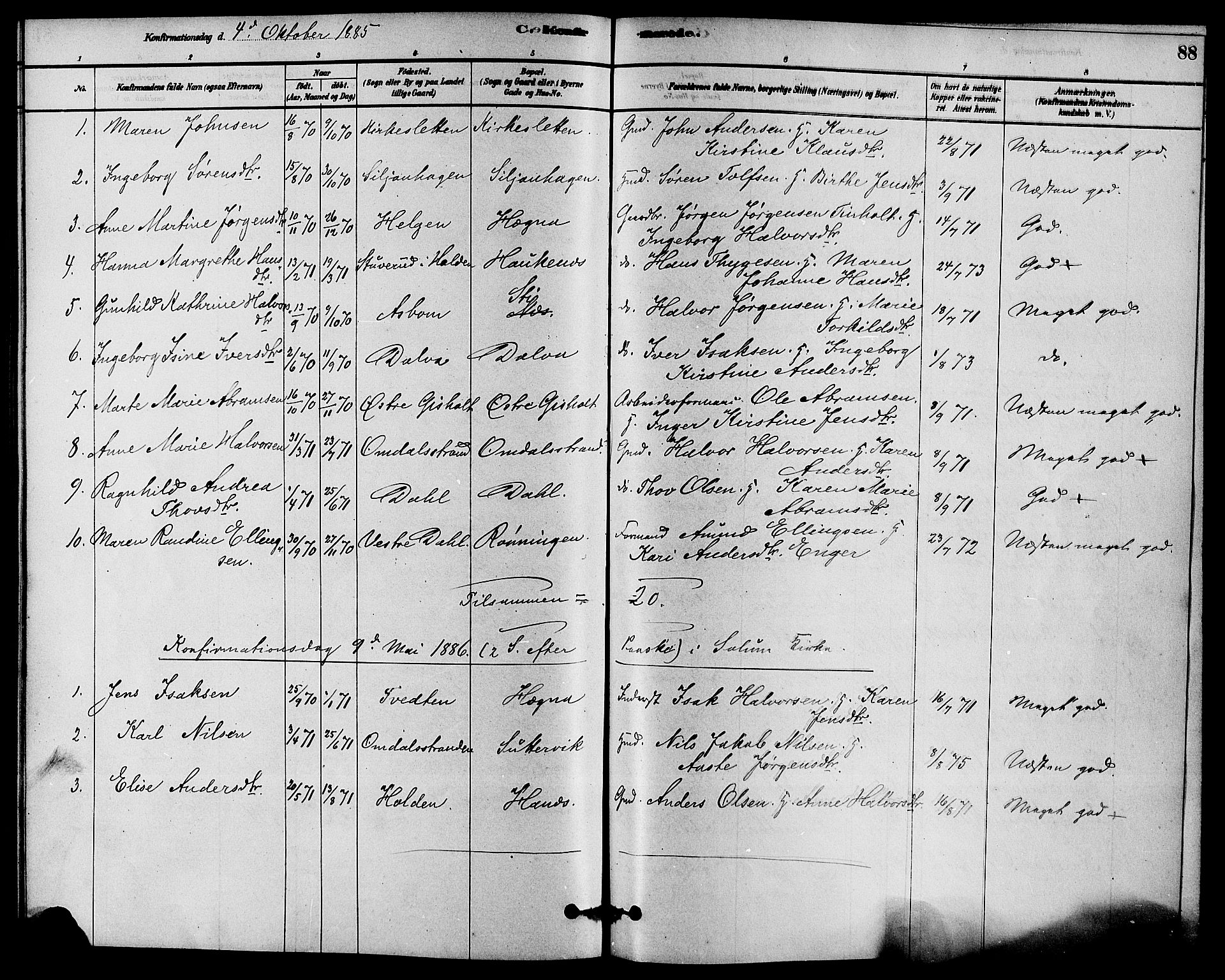 SAKO, Solum kirkebøker, F/Fb/L0001: Ministerialbok nr. II 1, 1877-1892, s. 88